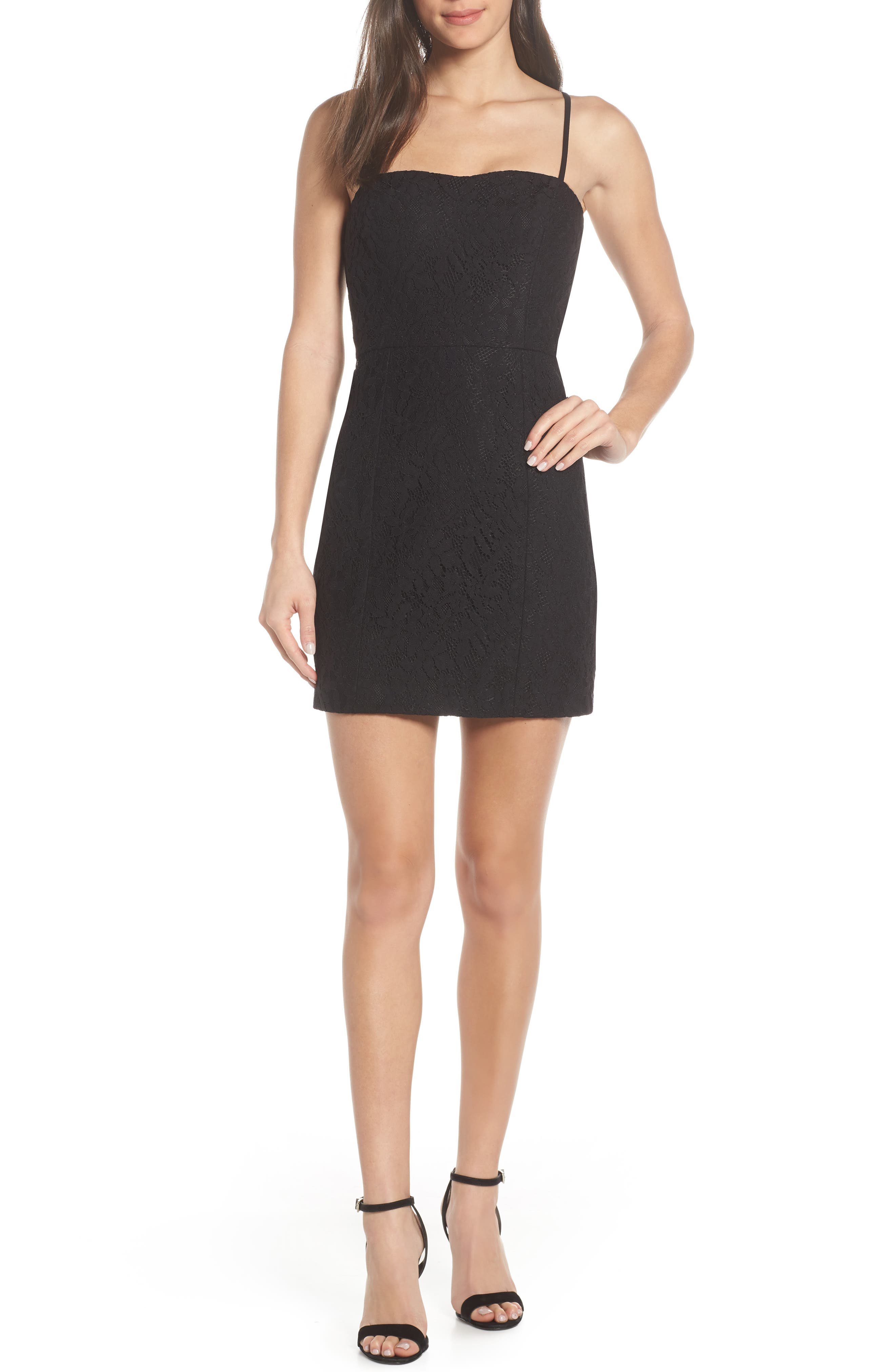 French Connection Lace Whisper Sweetheart Dress, Black