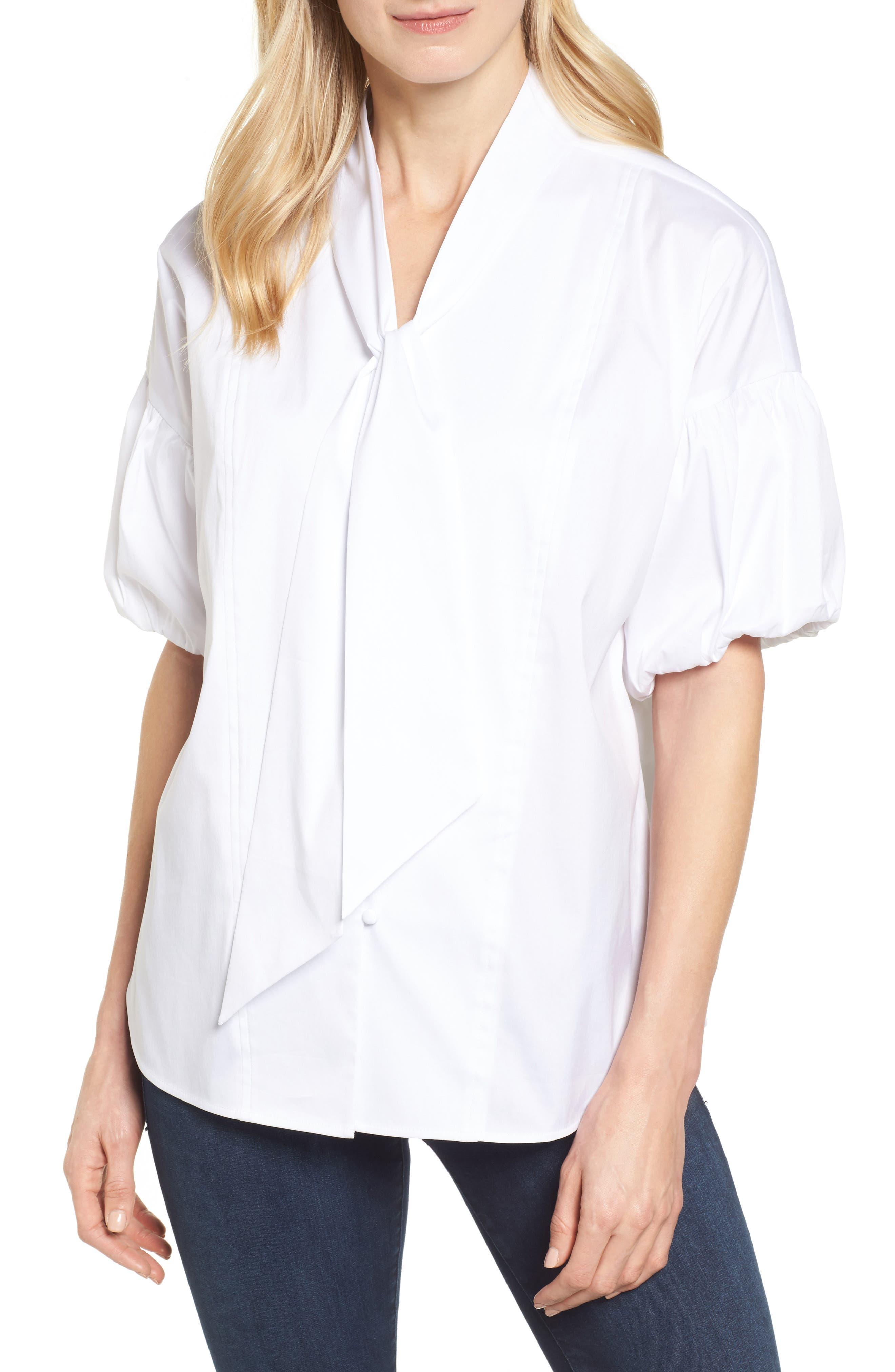 Tie Front Short Sleeve Blouse,                             Main thumbnail 1, color,                             100