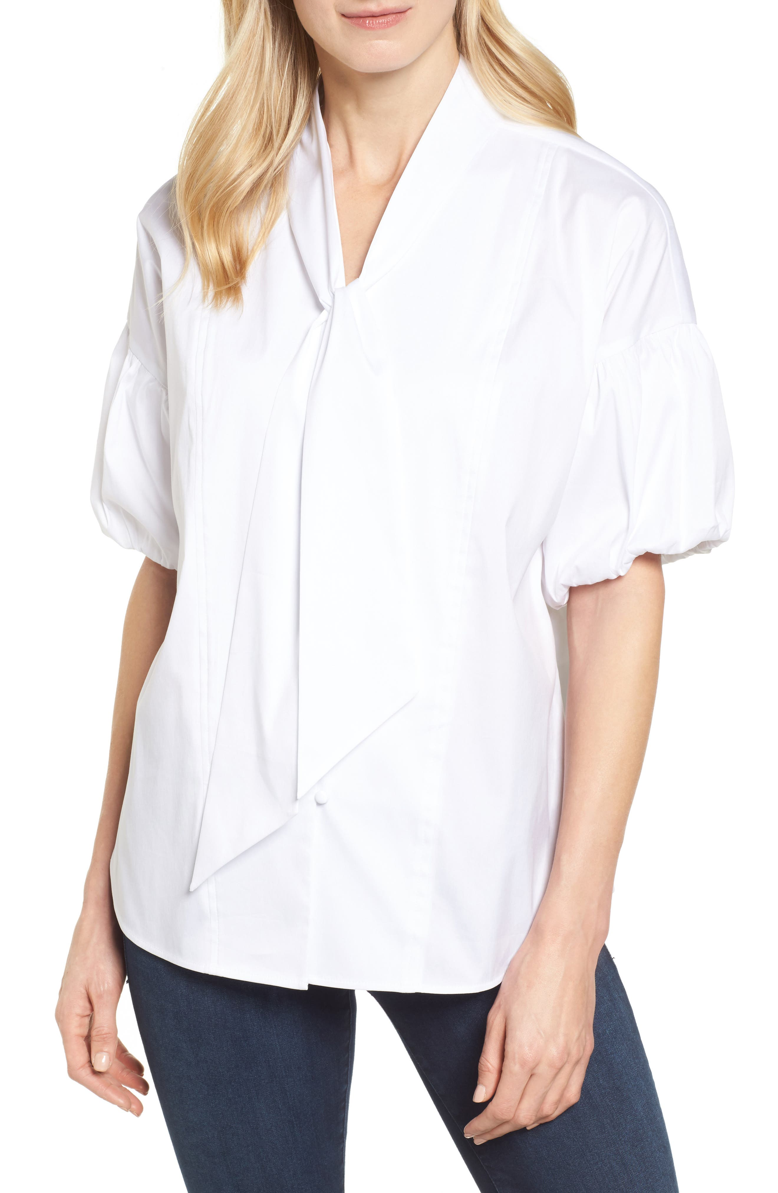Tie Front Short Sleeve Blouse,                         Main,                         color,