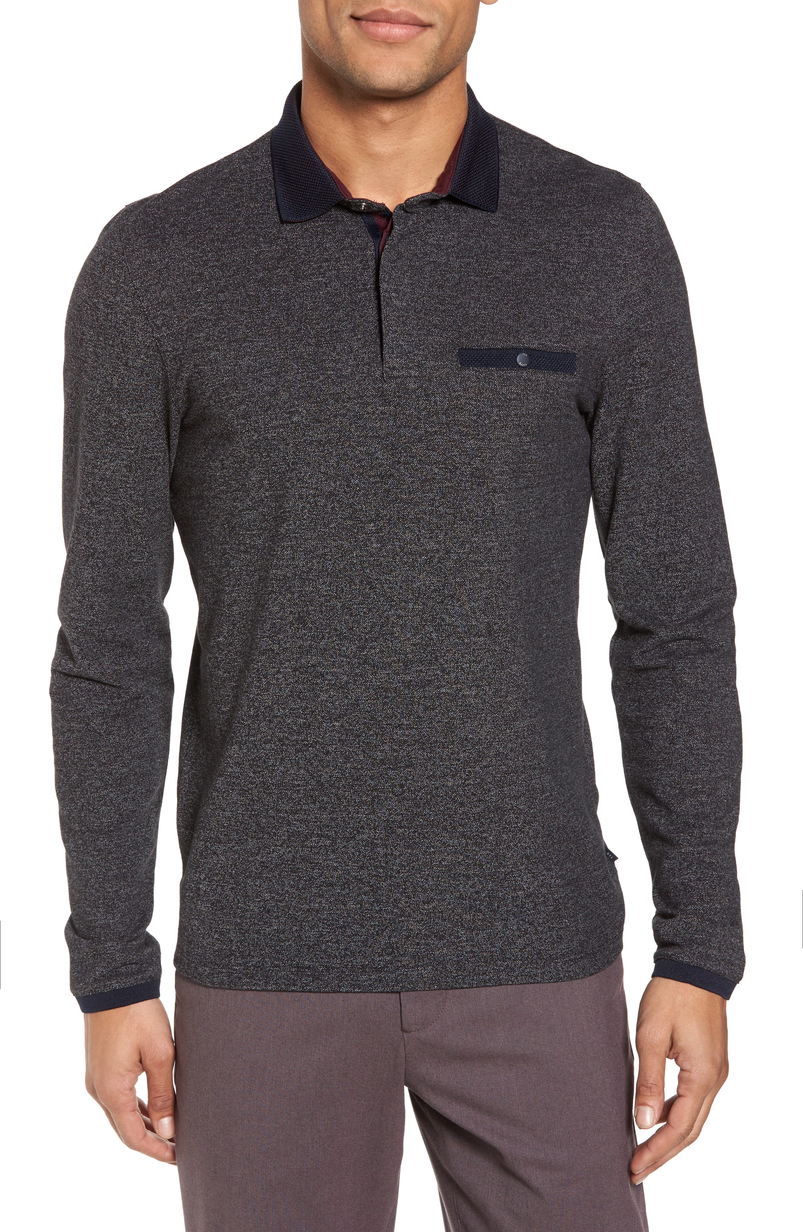Chella Trim Fit Long Sleeve Polo,                         Main,                         color, 010