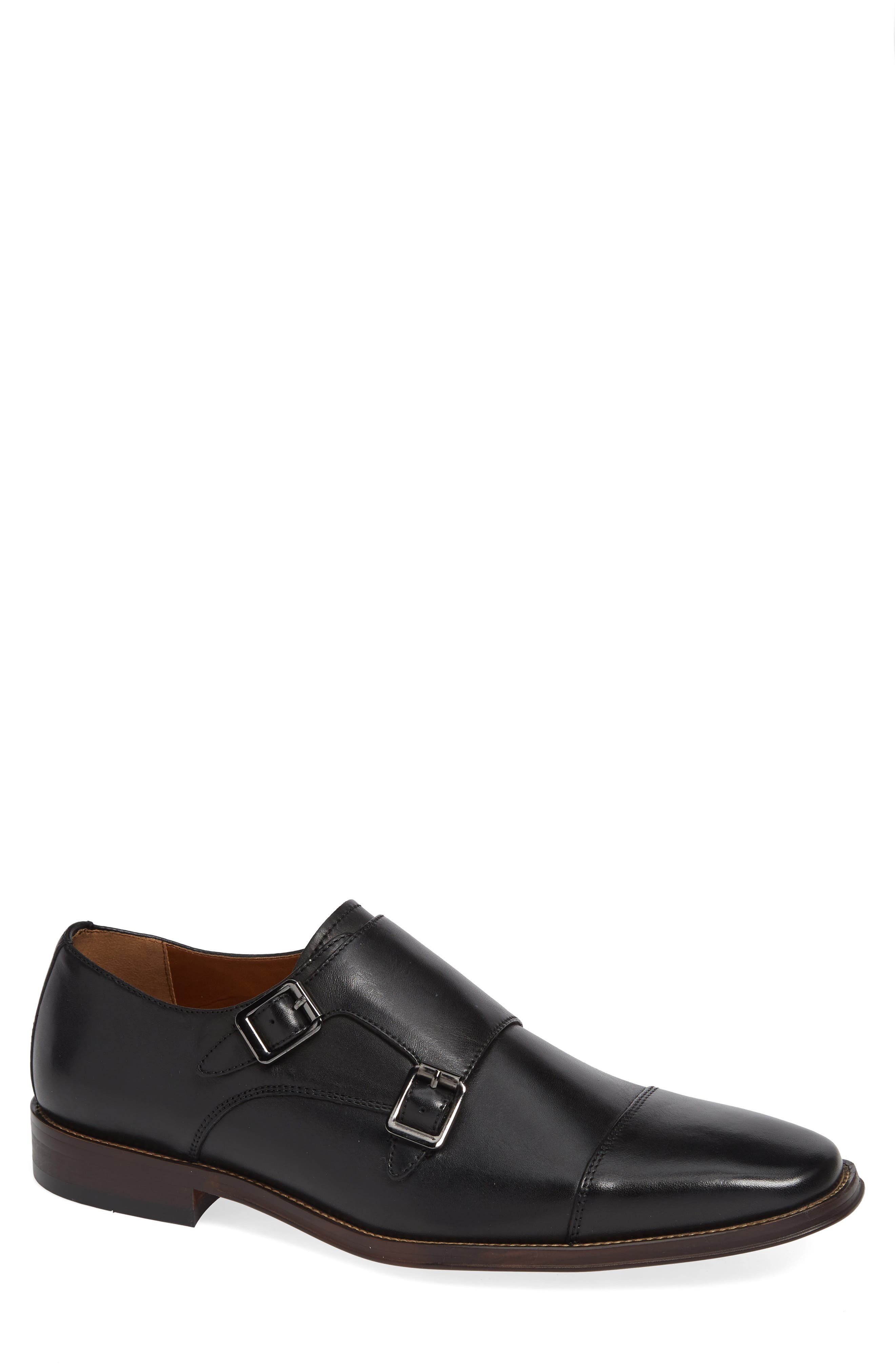 Remy Monk Strap Slip-On,                             Main thumbnail 1, color,                             BLACK LEATHER