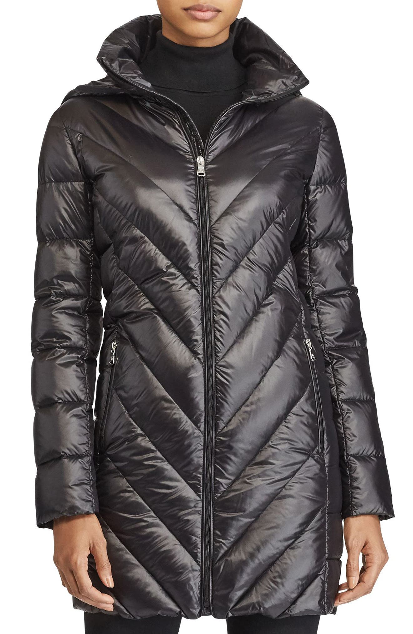 Chevron Quilted Down Jacket,                             Main thumbnail 1, color,                             001
