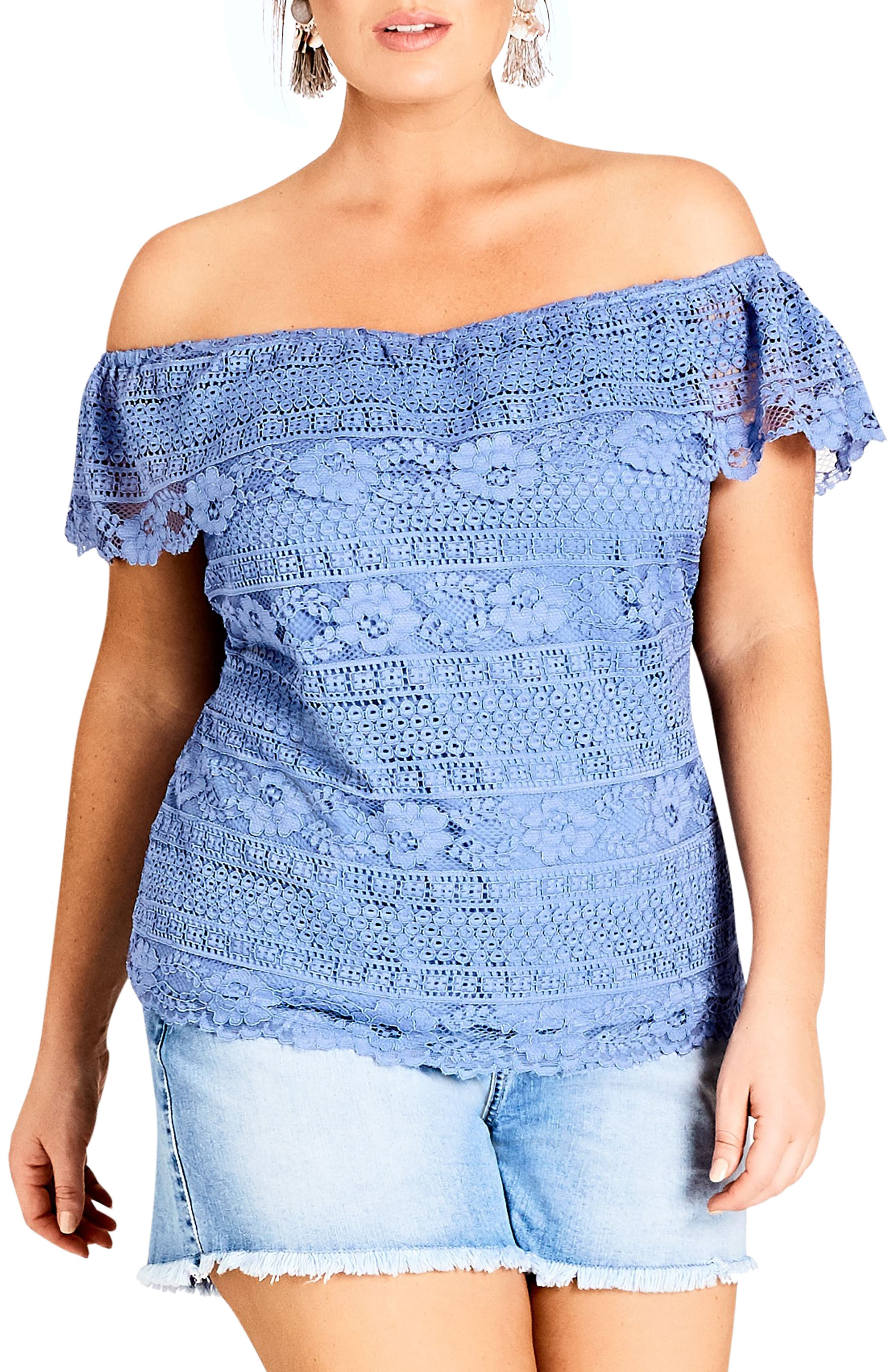 Summer Frill Lace Off the Shoulder Top,                             Main thumbnail 1, color,                             CORNFLOWER