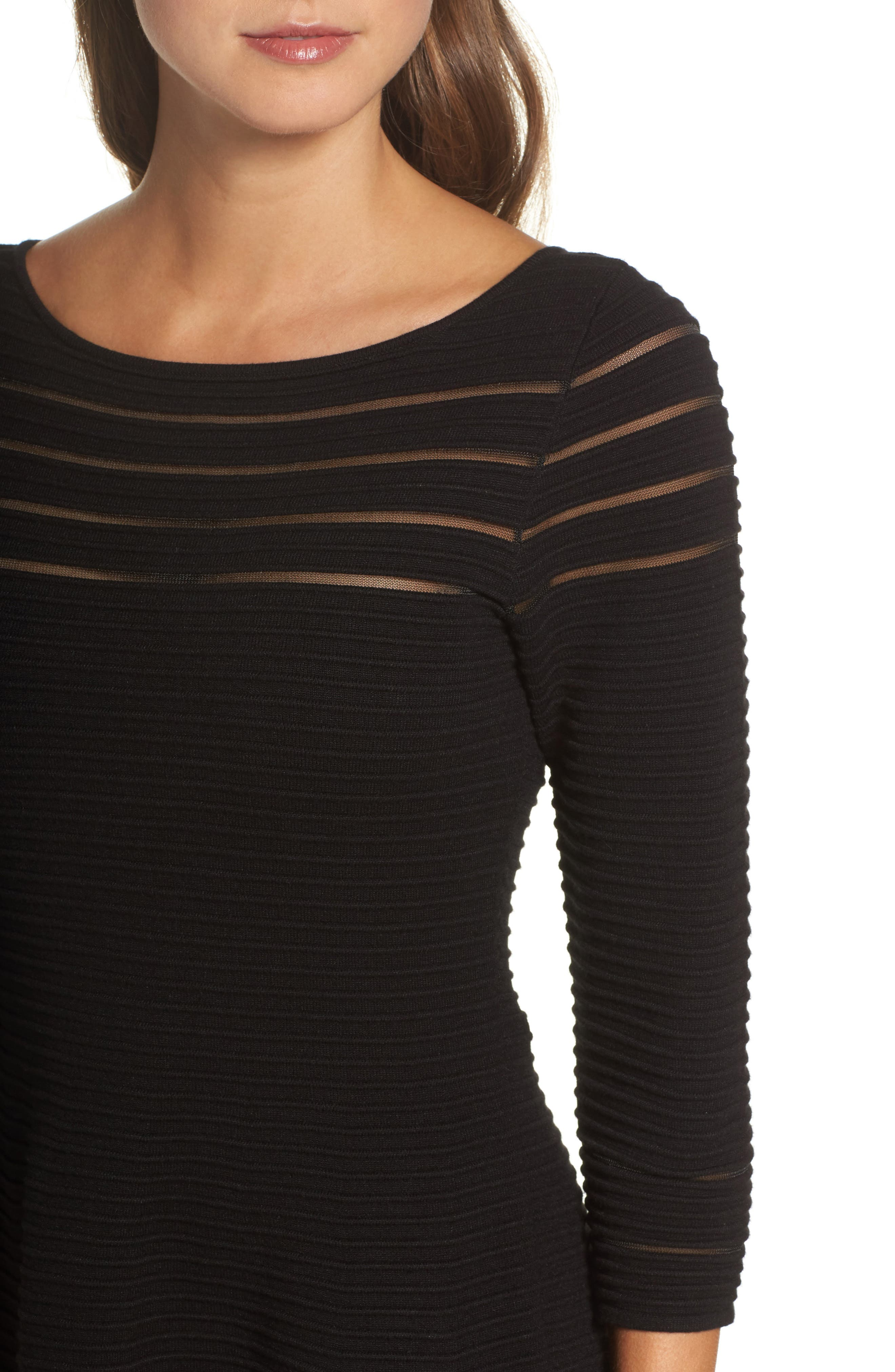 Mesh Fit & Flare Dress,                             Alternate thumbnail 4, color,                             BLACK