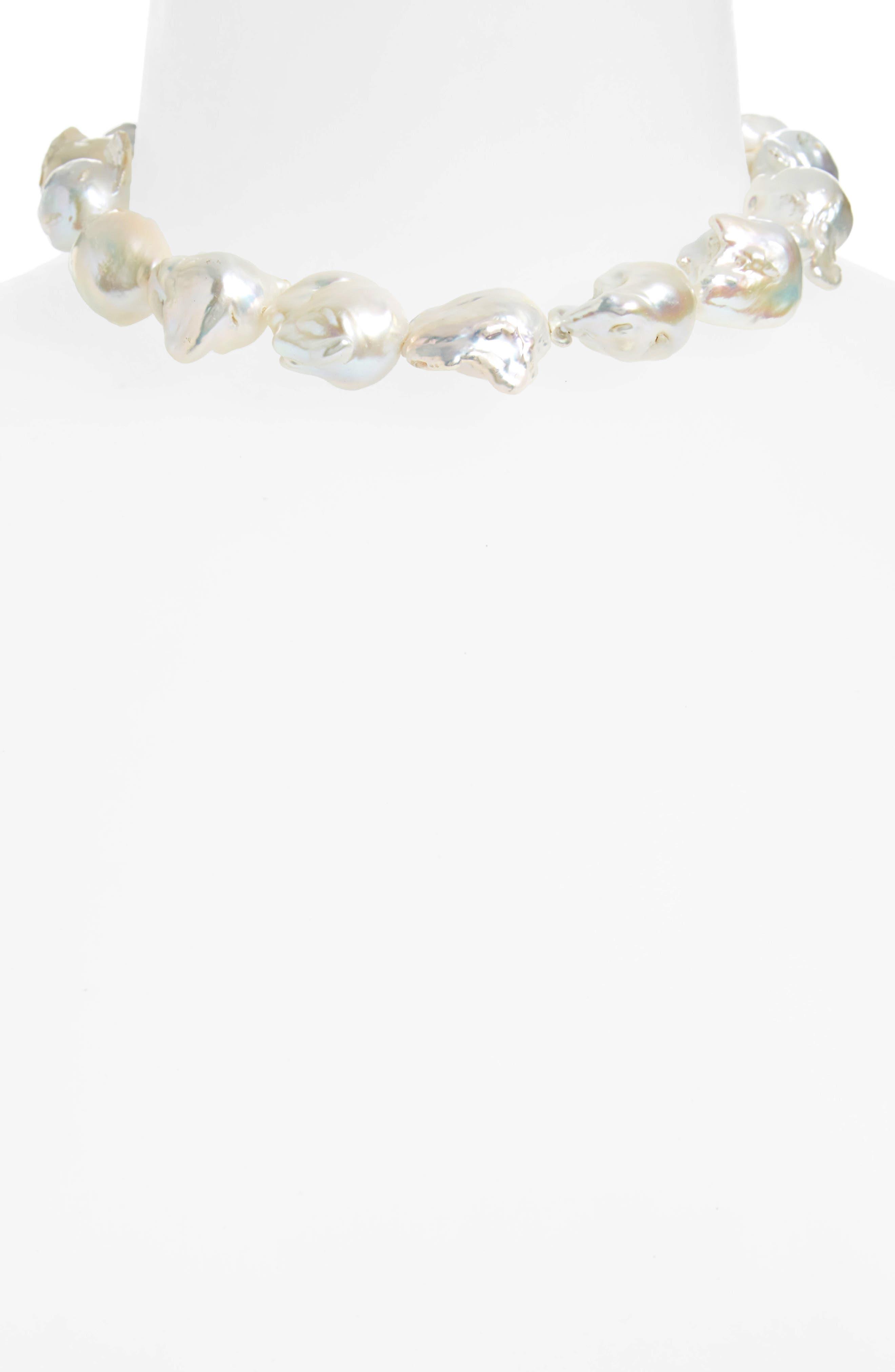 Baroque Pearl Collar Necklace,                             Alternate thumbnail 2, color,                             040