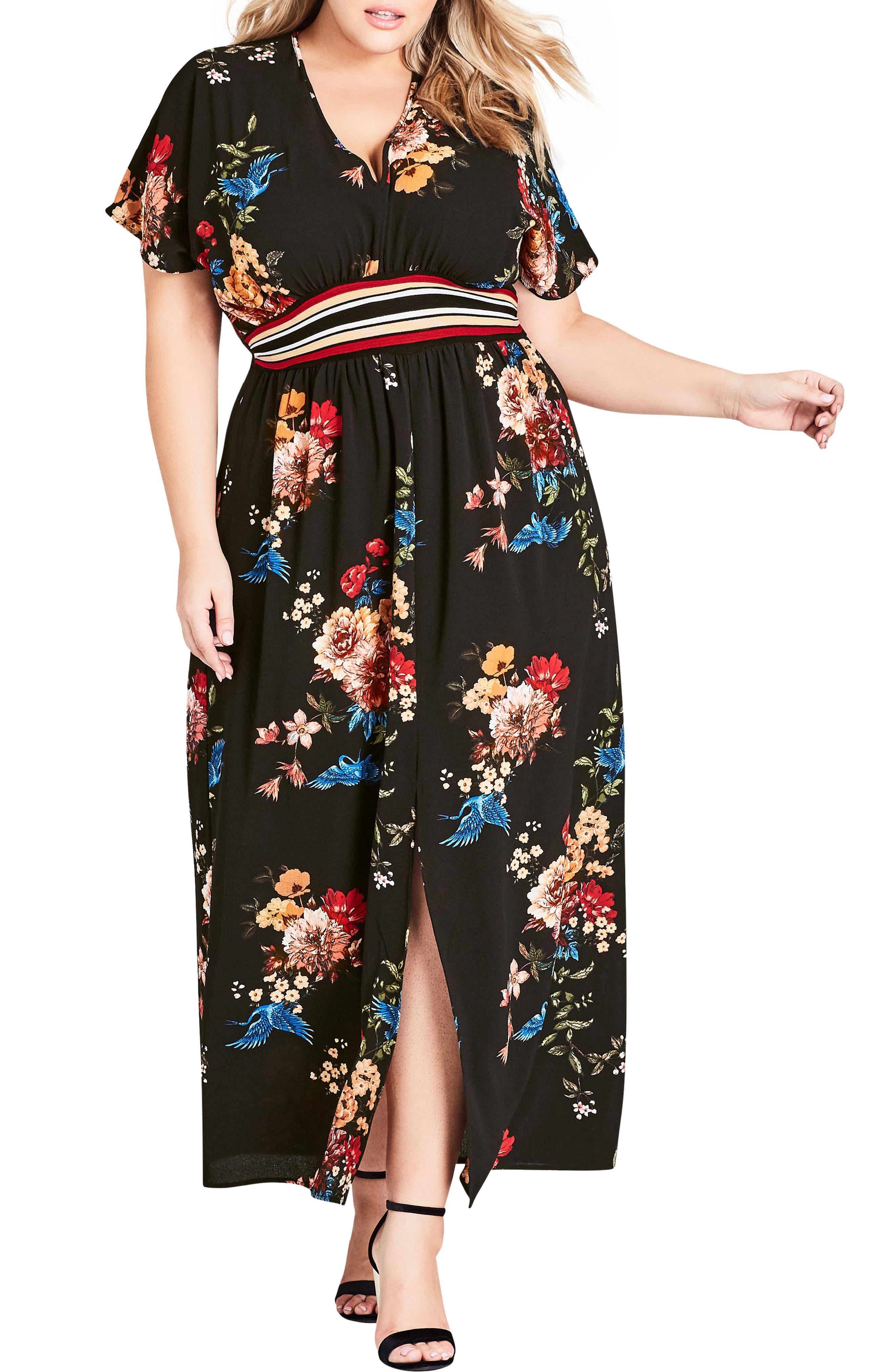 Plus Size City Chic Avairy Floral Maxi Dress, Black