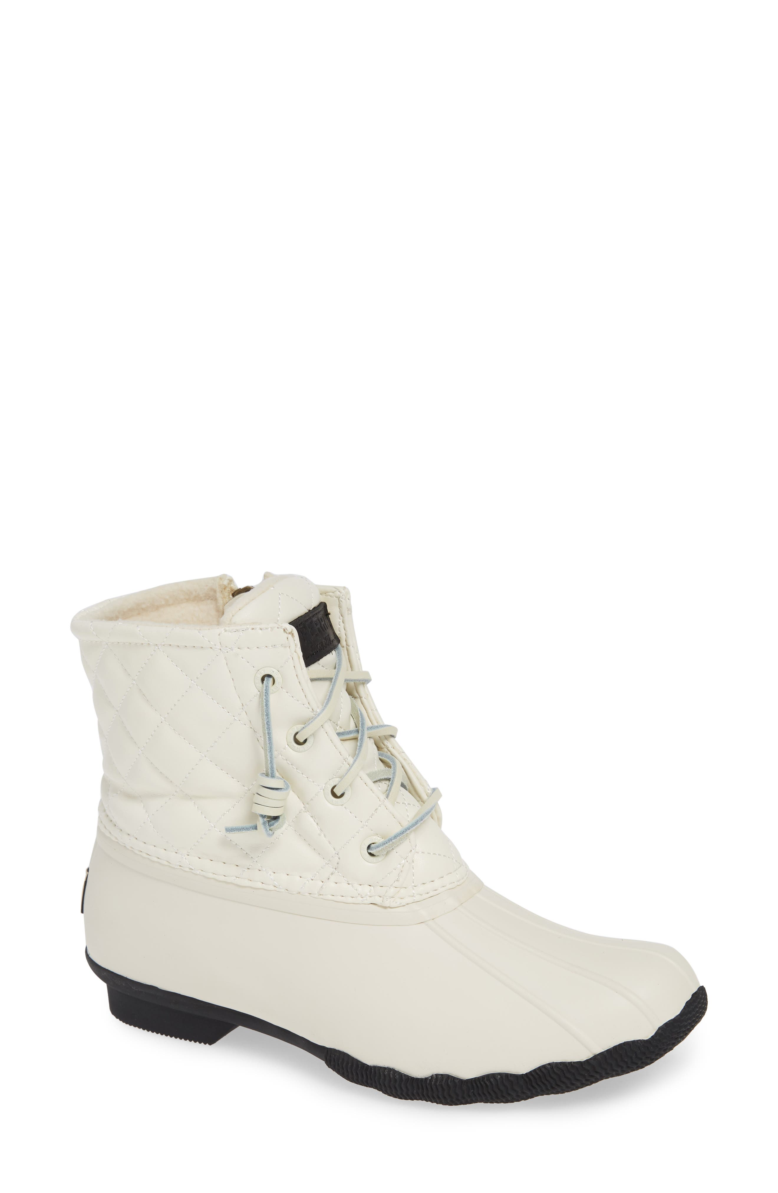 Quilted Luxe Saltwater Waterproof Bootie,                             Main thumbnail 1, color,                             IVORY