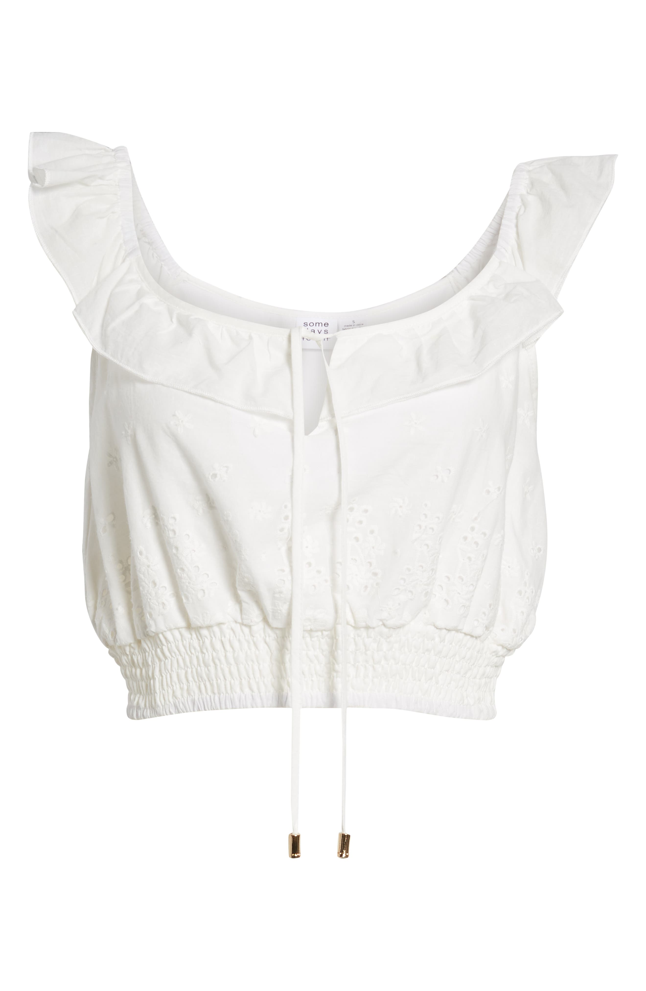Bianco Eyelet Crop Top,                             Alternate thumbnail 7, color,
