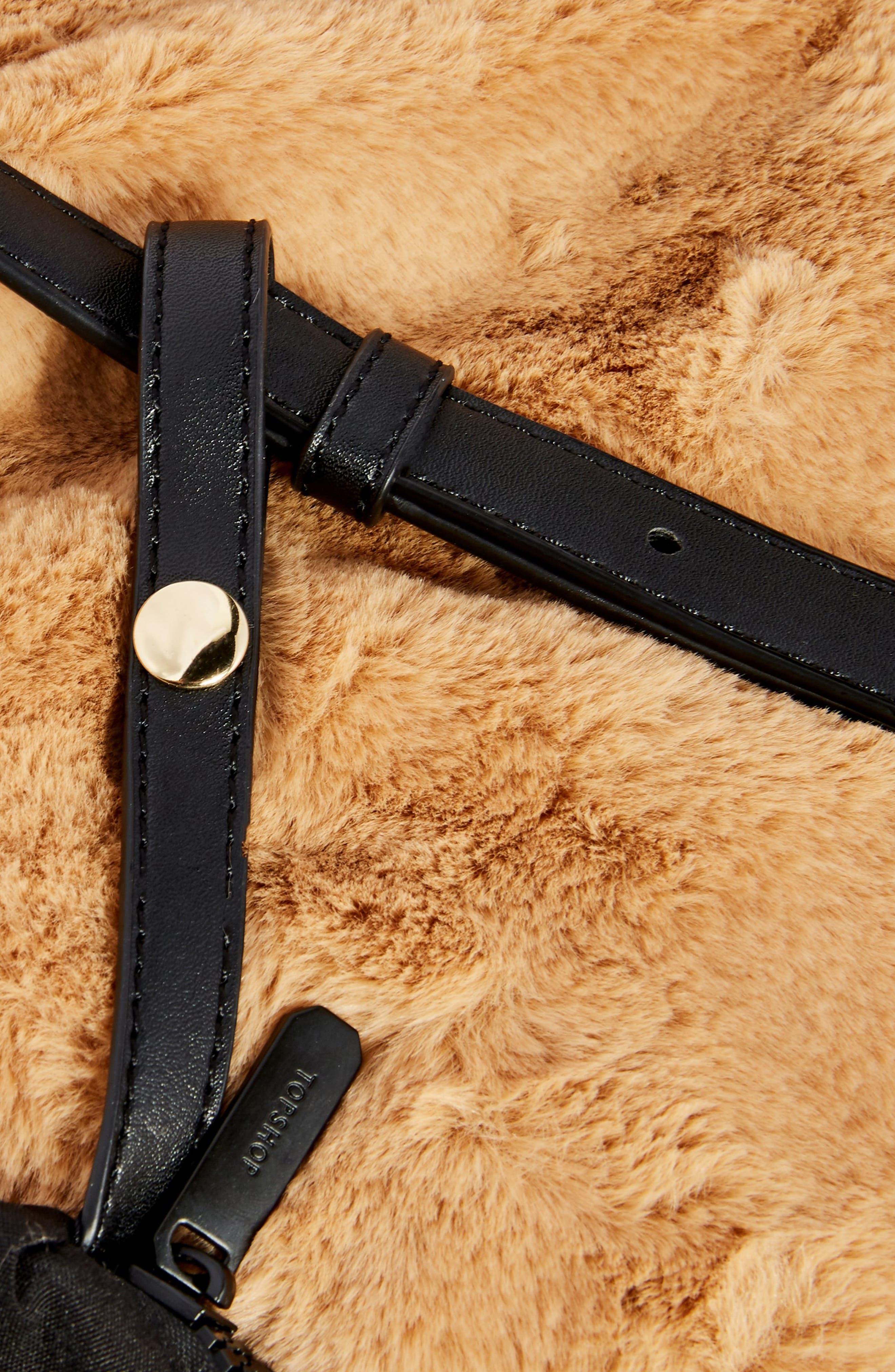 Freddy Faux Fur Tote Bag,                             Alternate thumbnail 4, color,                             BROWN