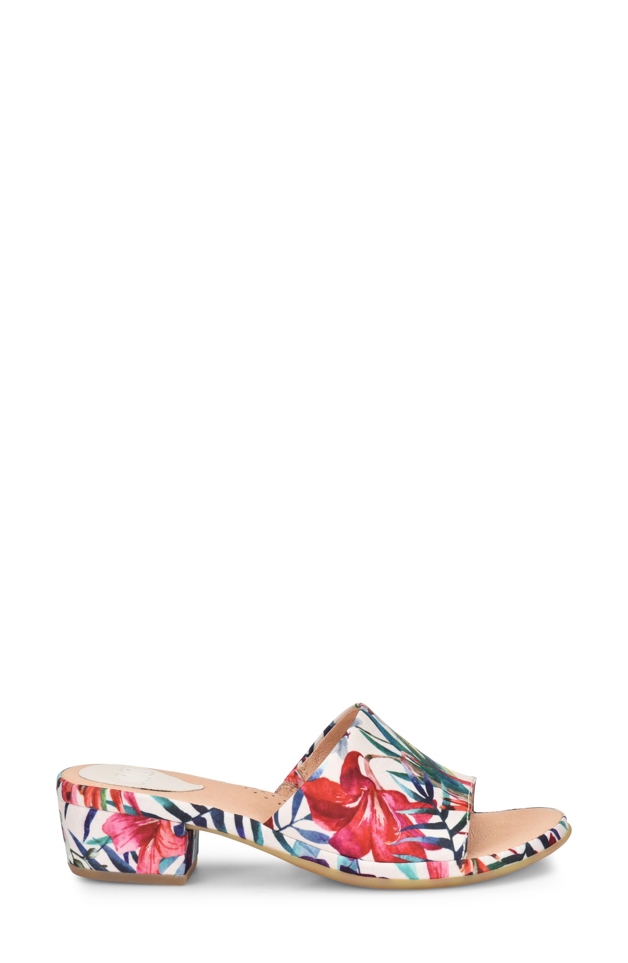 Bo Block Heel Slide Sandal,                             Alternate thumbnail 3, color,                             WHITE FABRIC