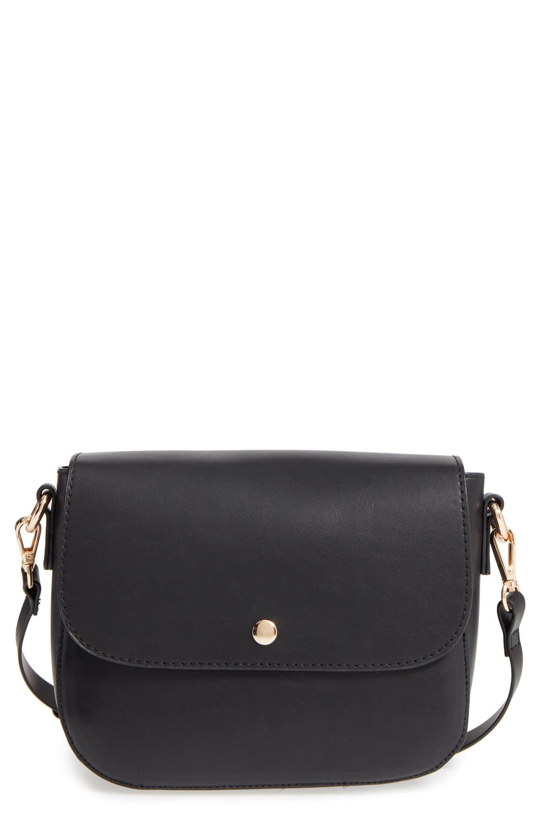 Minimal Faux Leather Crossbody Bag,                             Main thumbnail 1, color,                             001