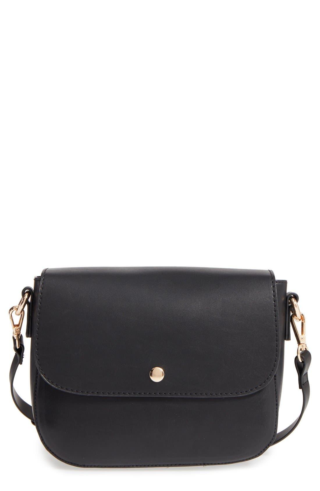 Minimal Faux Leather Crossbody Bag,                         Main,                         color, 001
