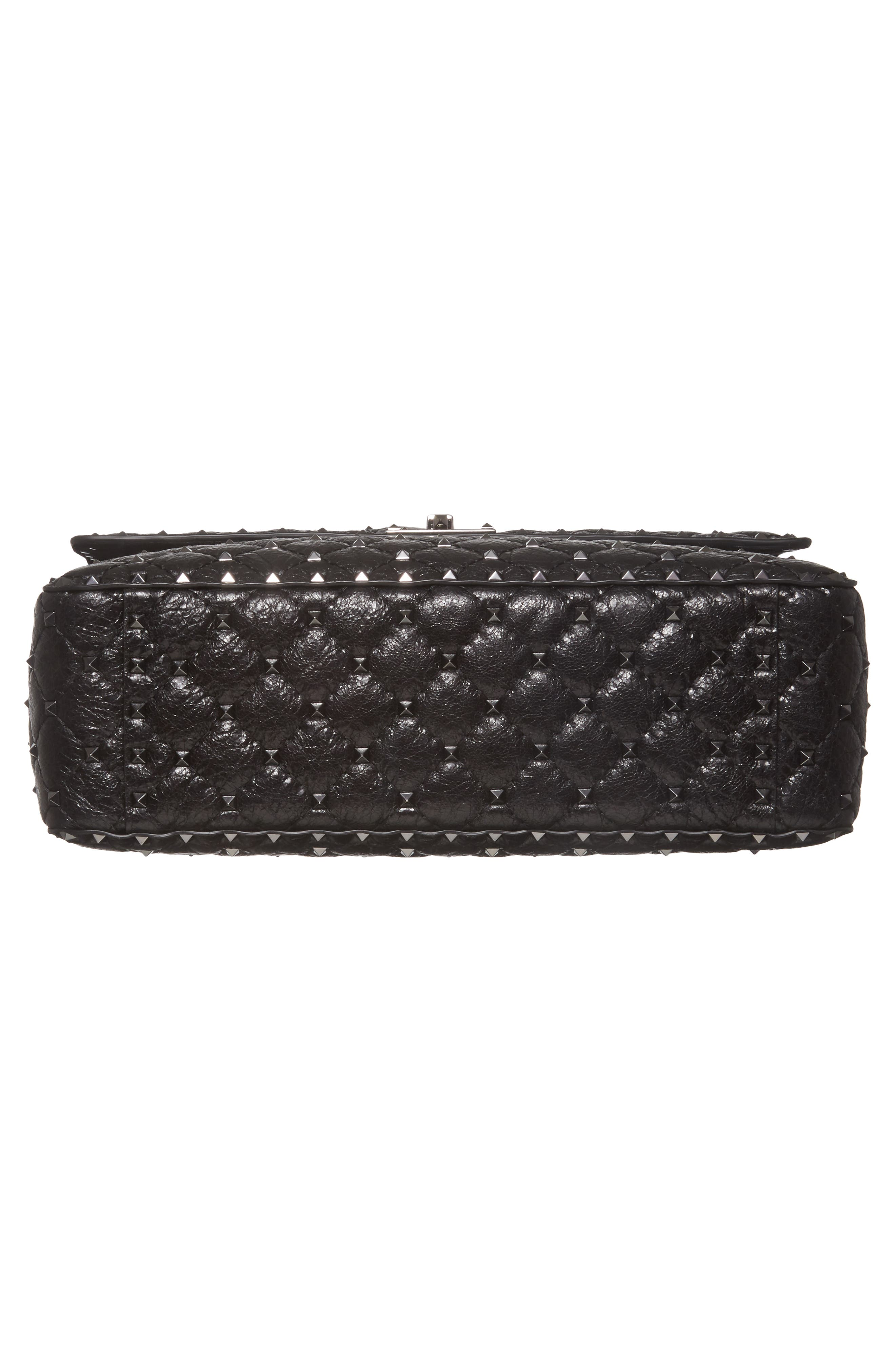 Vitello Rockstud Lambskin Leather Shoulder Bag,                             Alternate thumbnail 6, color,                             NERO