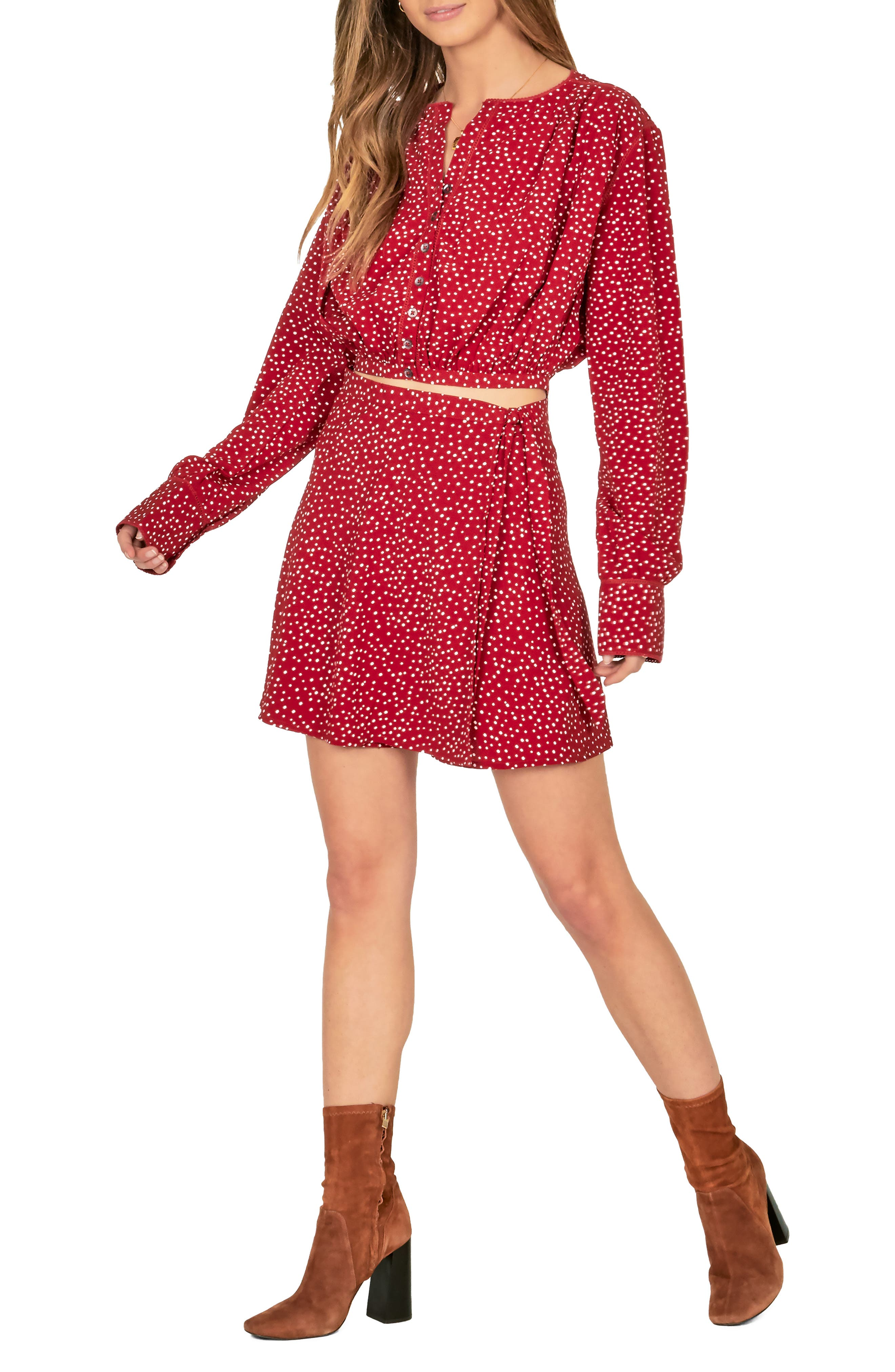 Amuse Society Hey Dottie Wrap Skirt, Burgundy