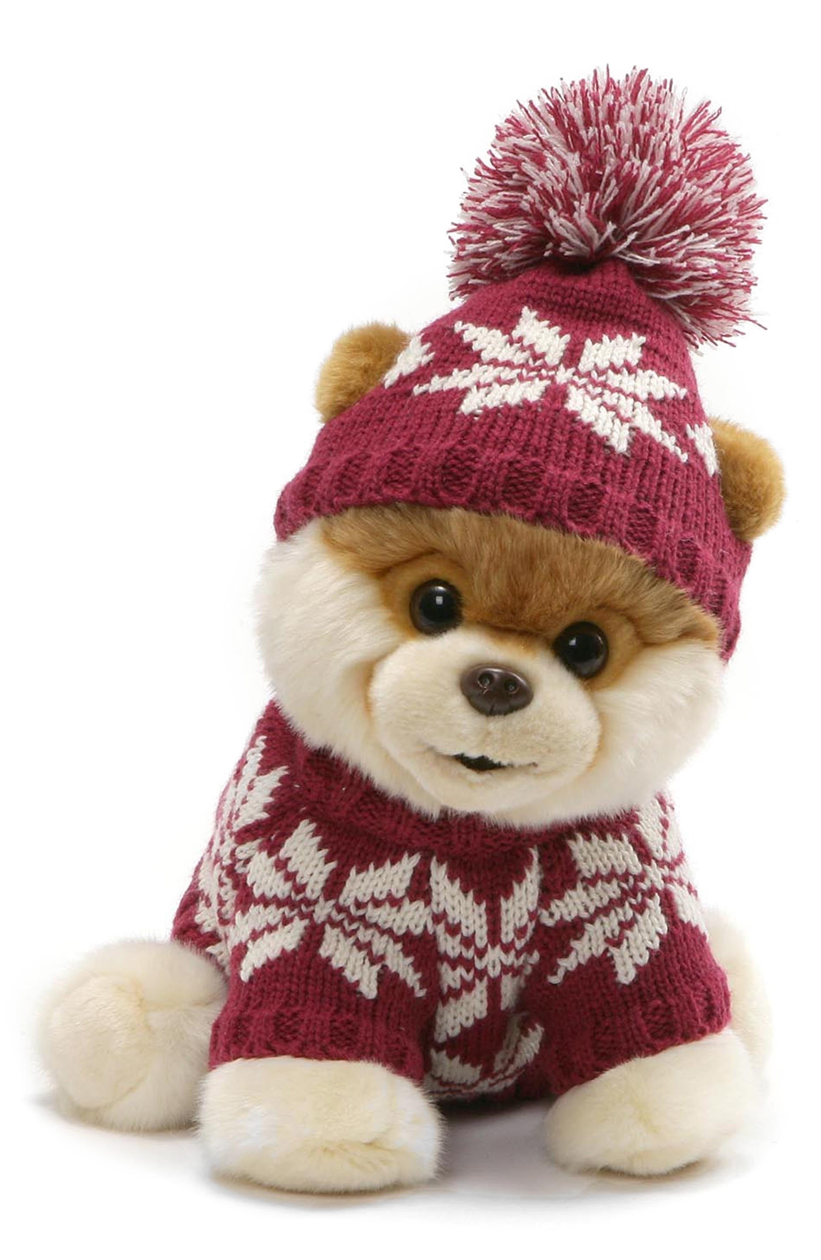 Boo - Fair Isle Sweater Stuffed Animal, Main, color, TAN