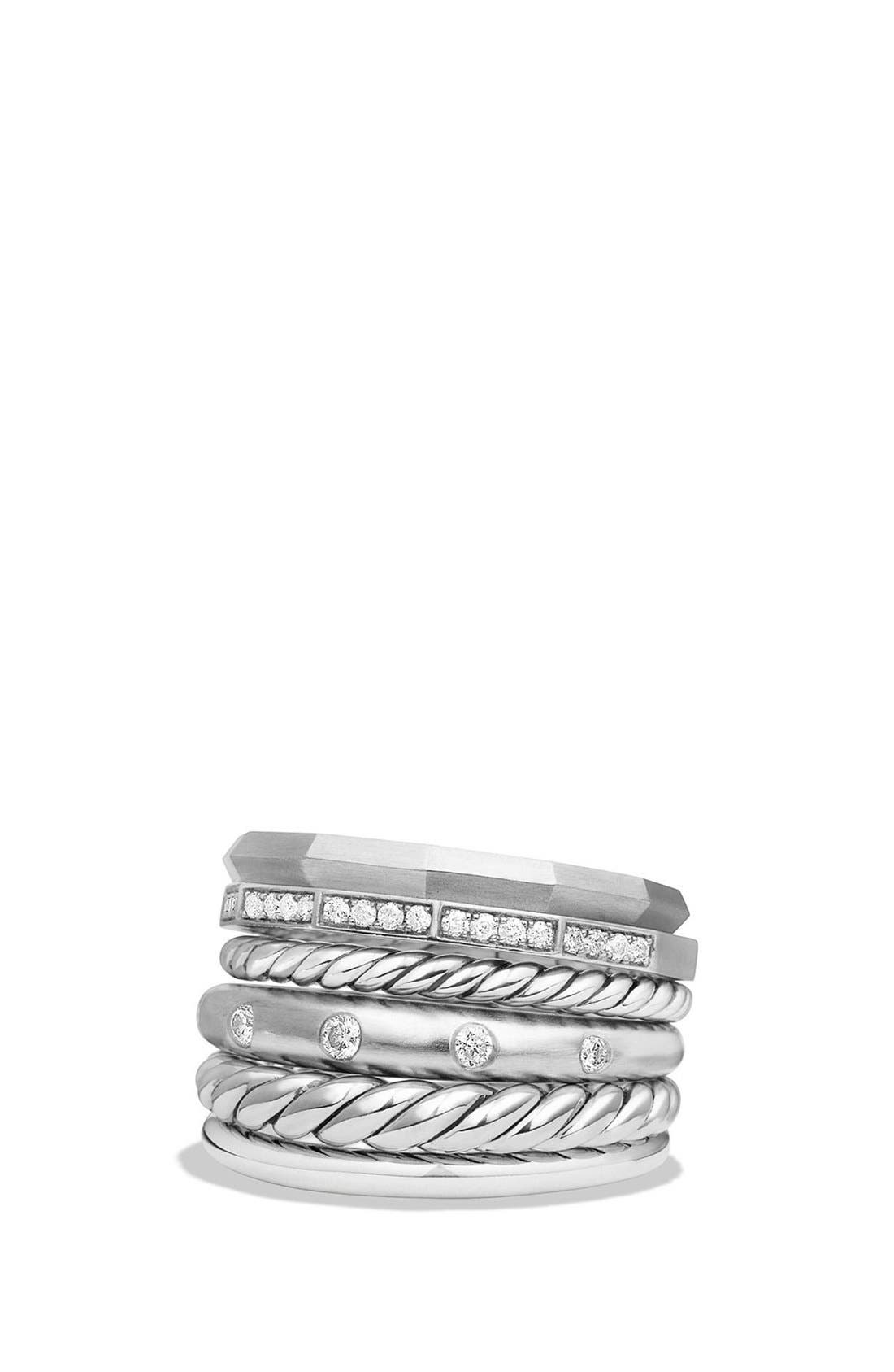 'Stax' Wide Diamond Ring, Main, color, SILVER