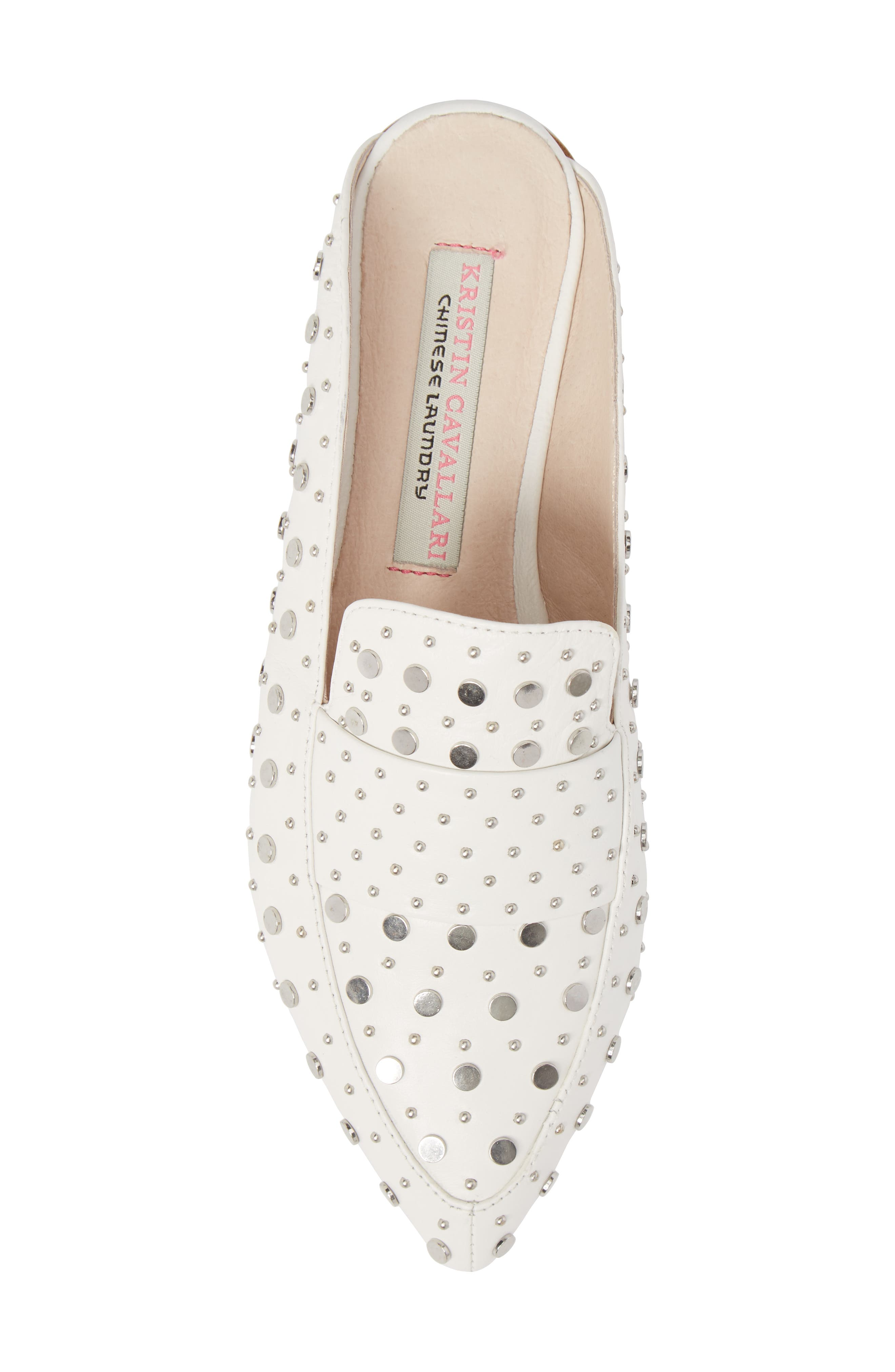 Charlie Studded Loafer Mule,                             Alternate thumbnail 5, color,                             WHITE LEATHER
