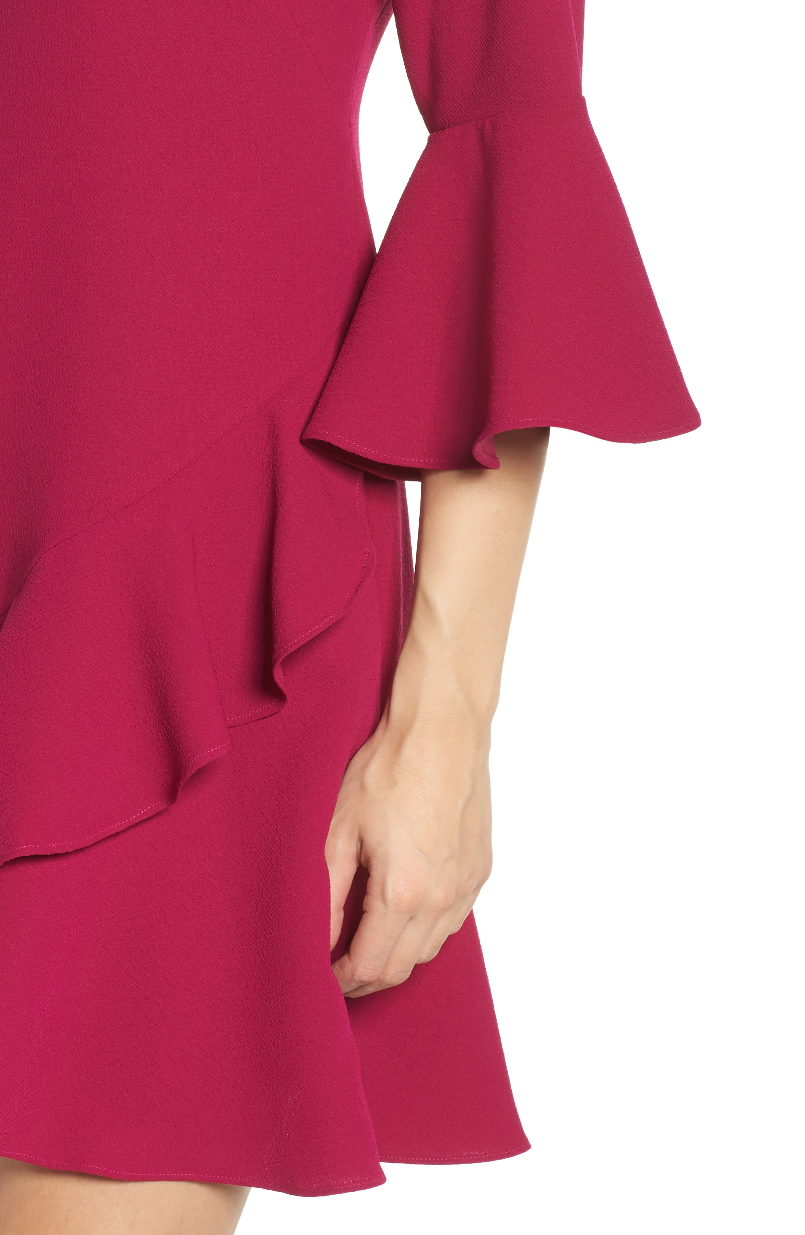Bell Sleeve Fit & Flare Dress,                             Alternate thumbnail 8, color,