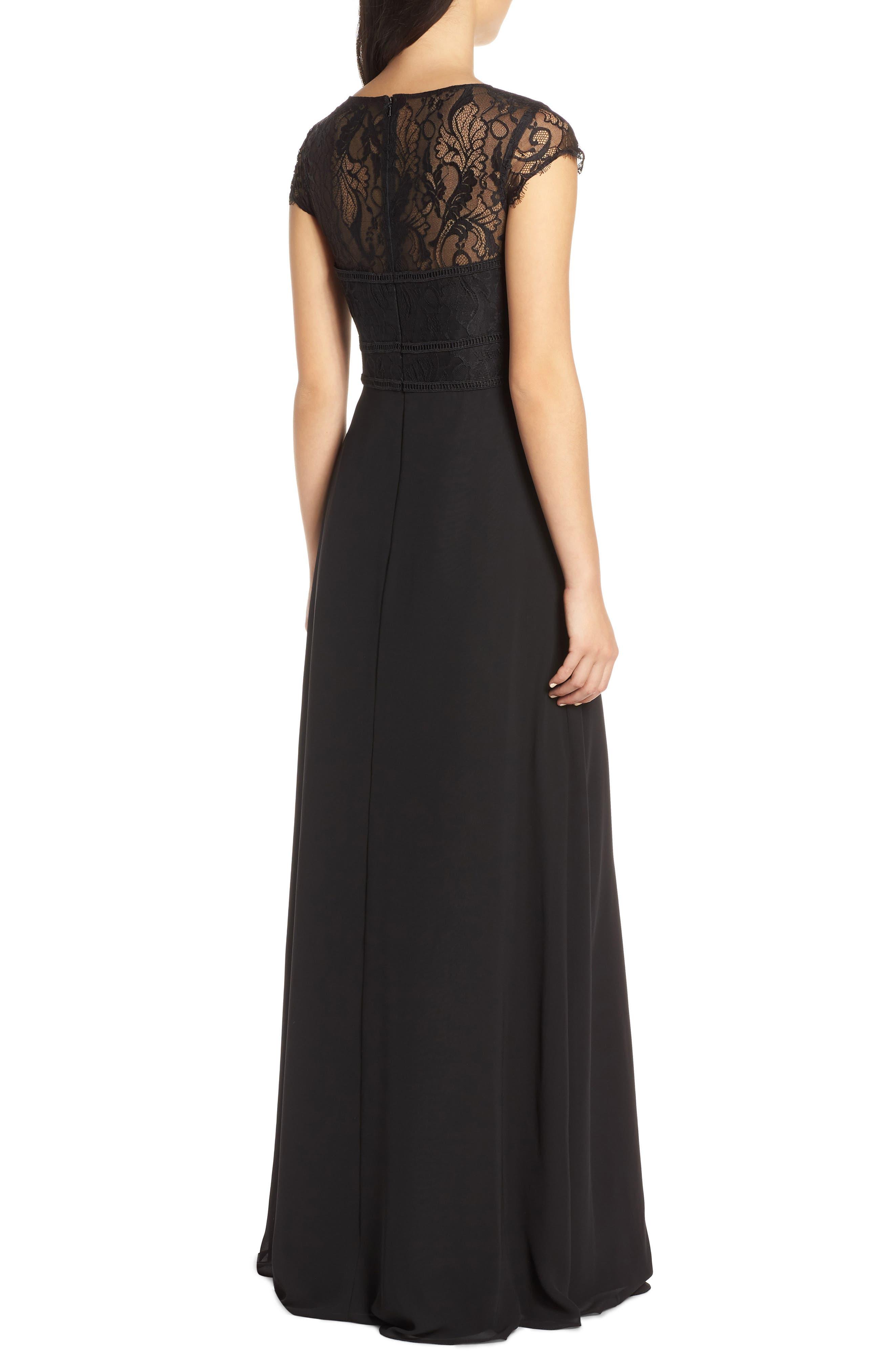 HAYLEY PAIGE OCCASIONS,                             Lace Bodice Chiffon Evening Dress,                             Alternate thumbnail 2, color,                             BLACK / BLACK