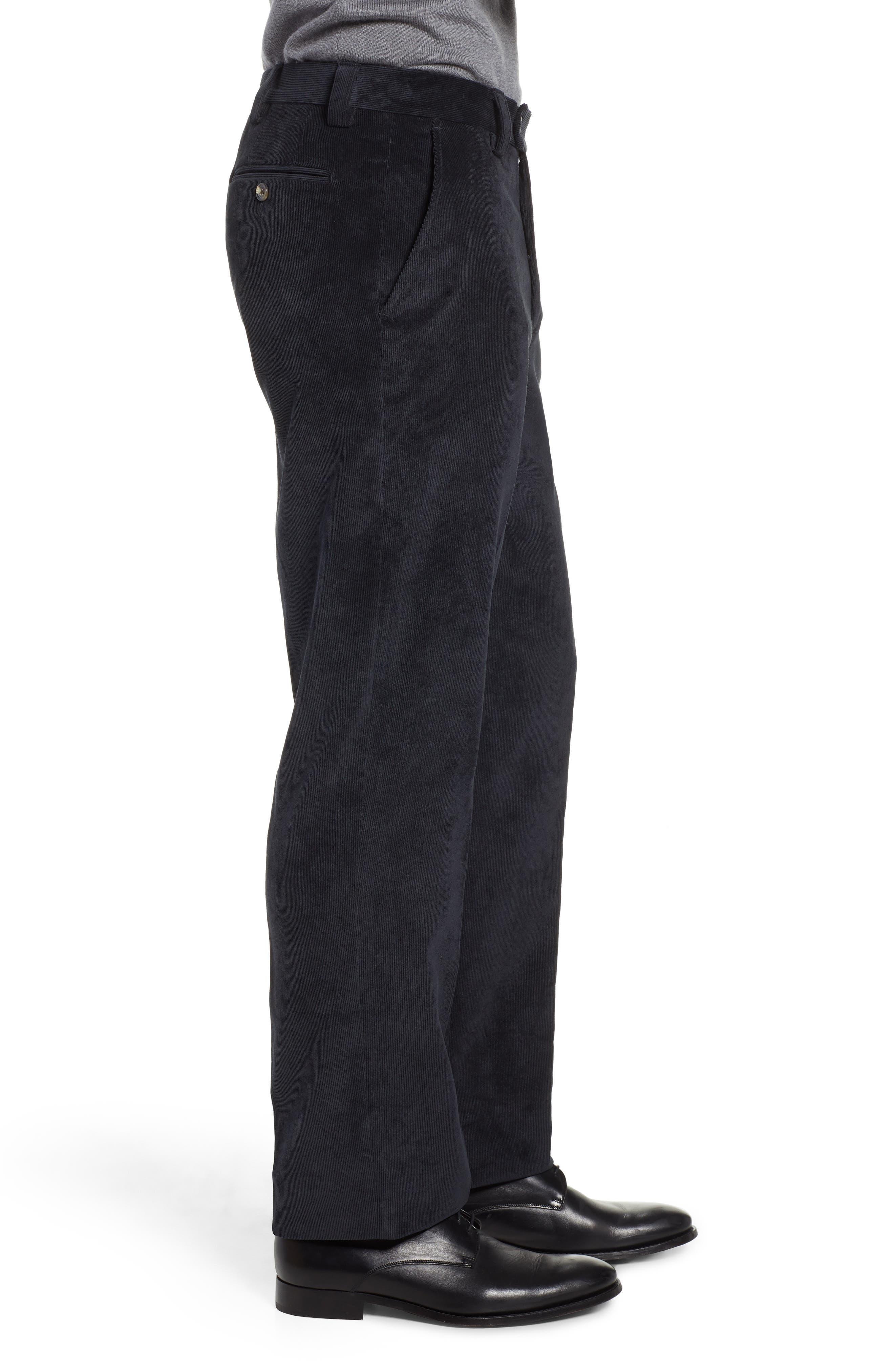 Classic Fit Flat Front Corduroy Trousers,                             Alternate thumbnail 3, color,                             BLACK