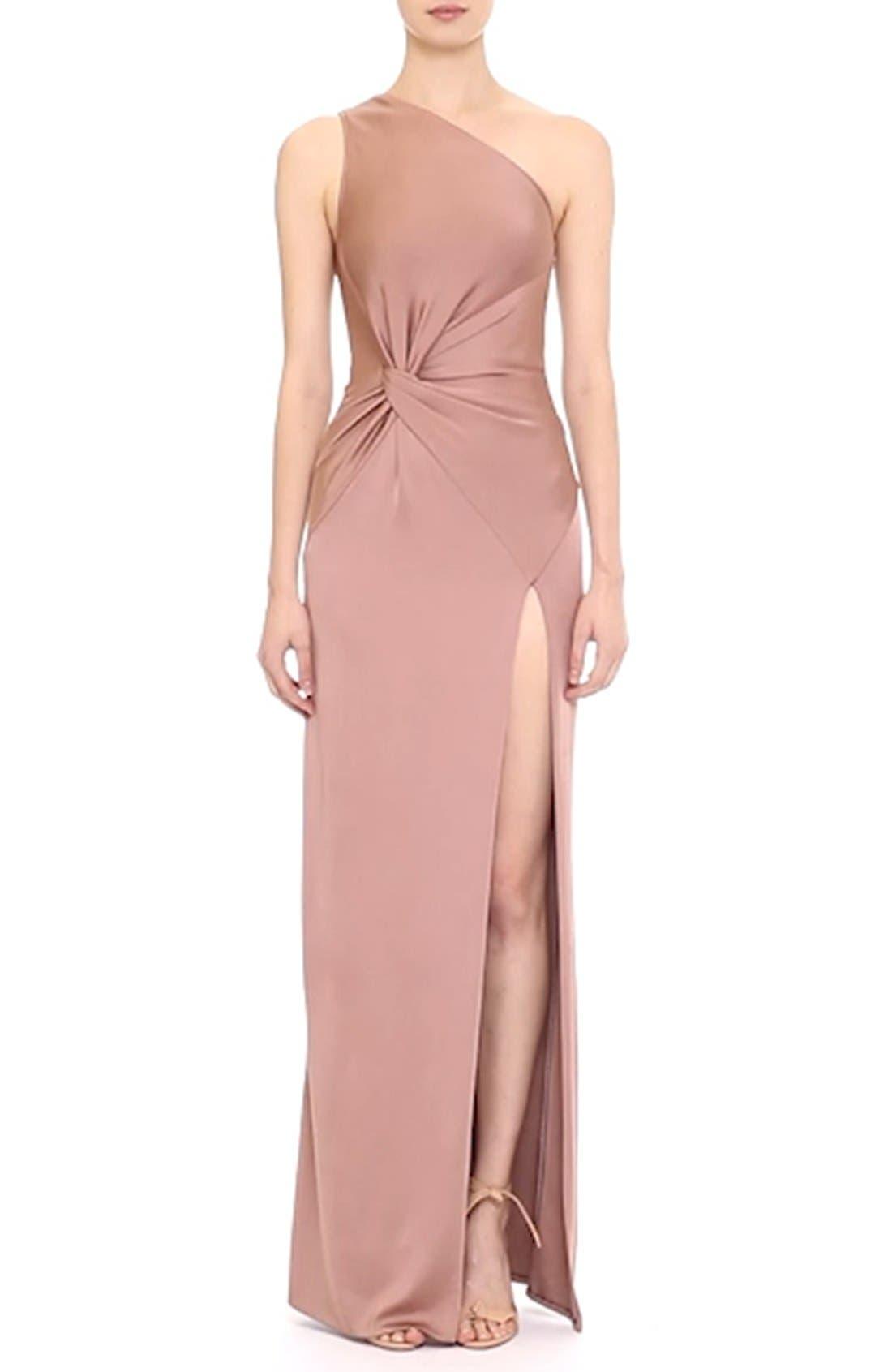 One-Shoulder Twist Gown,                             Alternate thumbnail 7, color,                             DUNE