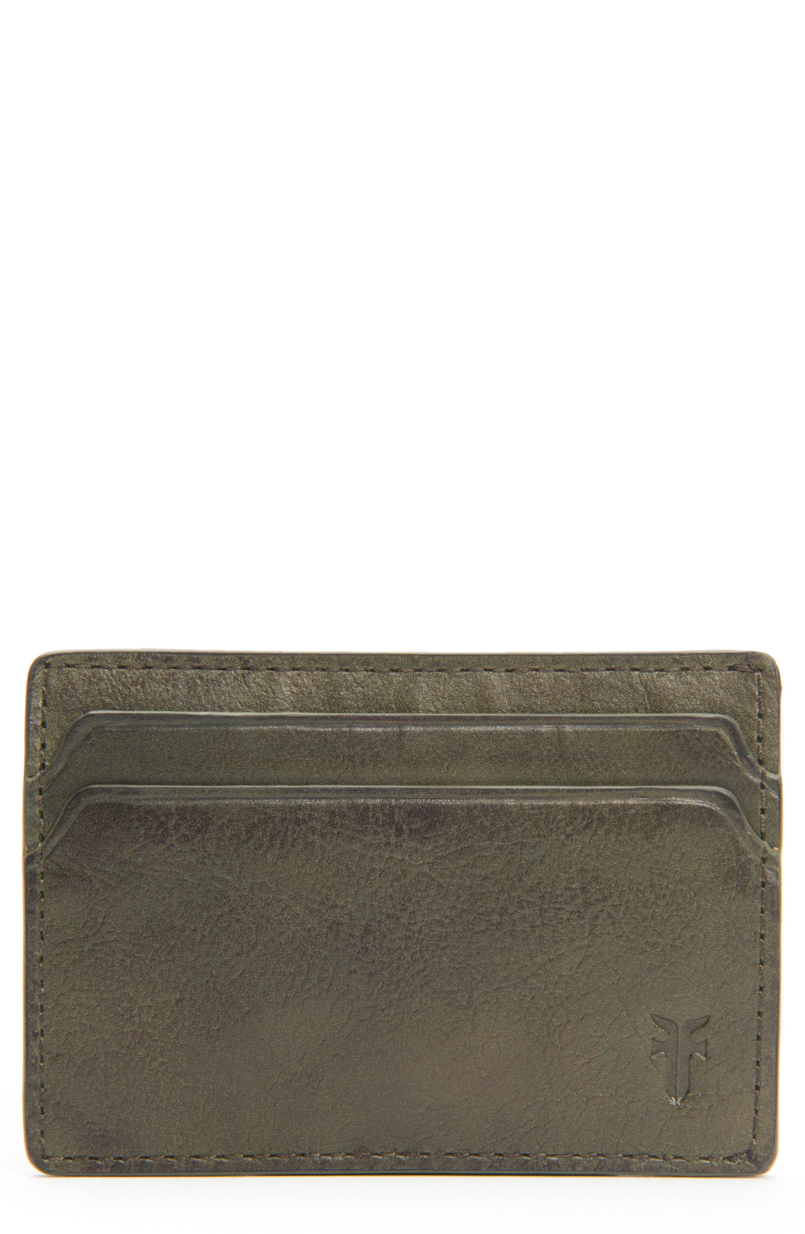 Oliver Leather Card Case,                         Main,                         color, OLIVE