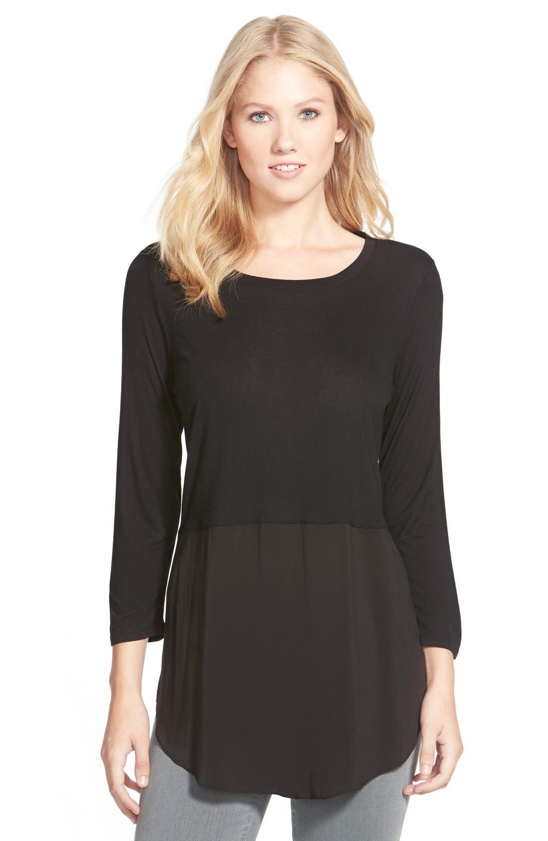 Two by Vince Camuto Mixed Media Jewel Neck Tunic,                         Main,                         color, RICH BLACK