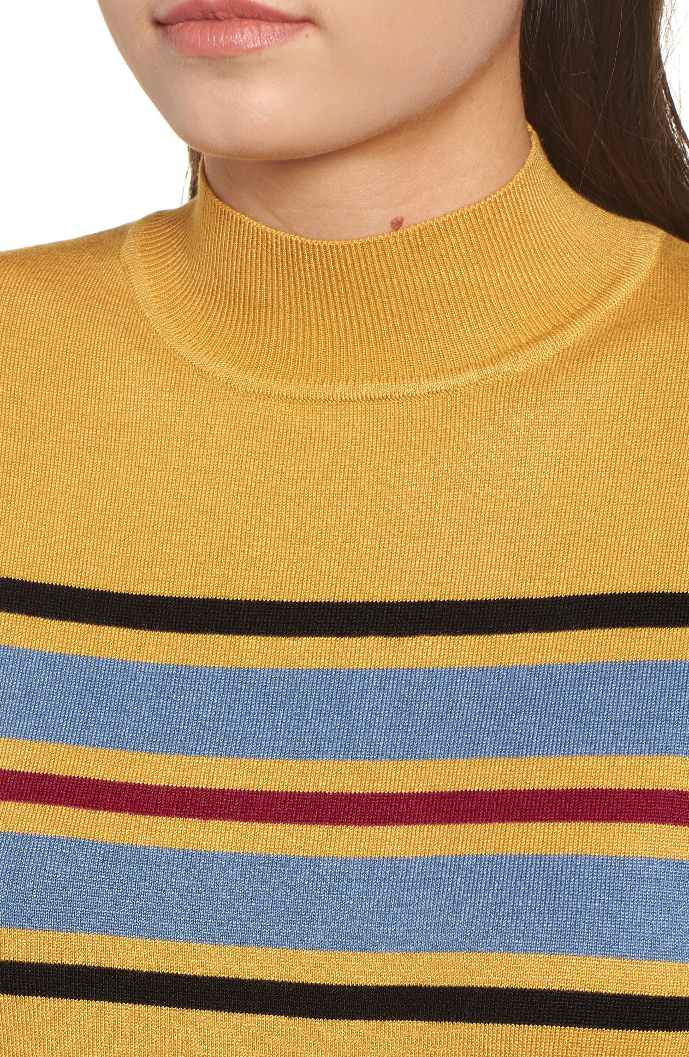 Skivvy Stripe Sweater,                             Alternate thumbnail 4, color,                             MUSTARD