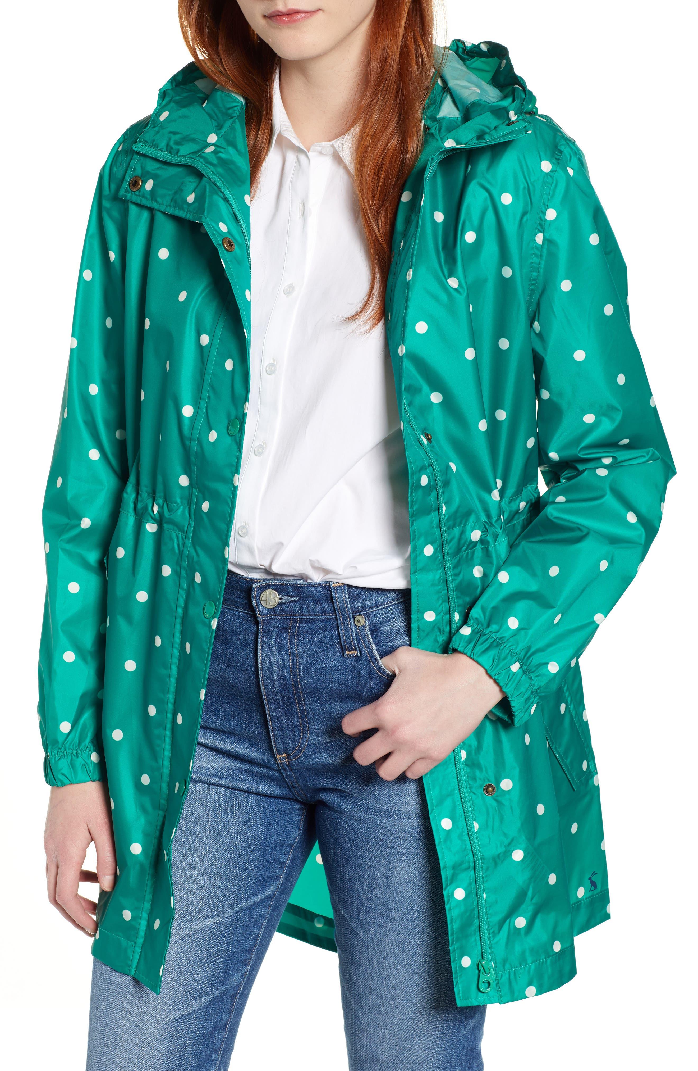 Go Lightly Waterproof Pack Away Hooded Jacket, Main, color, GREEN SPOT