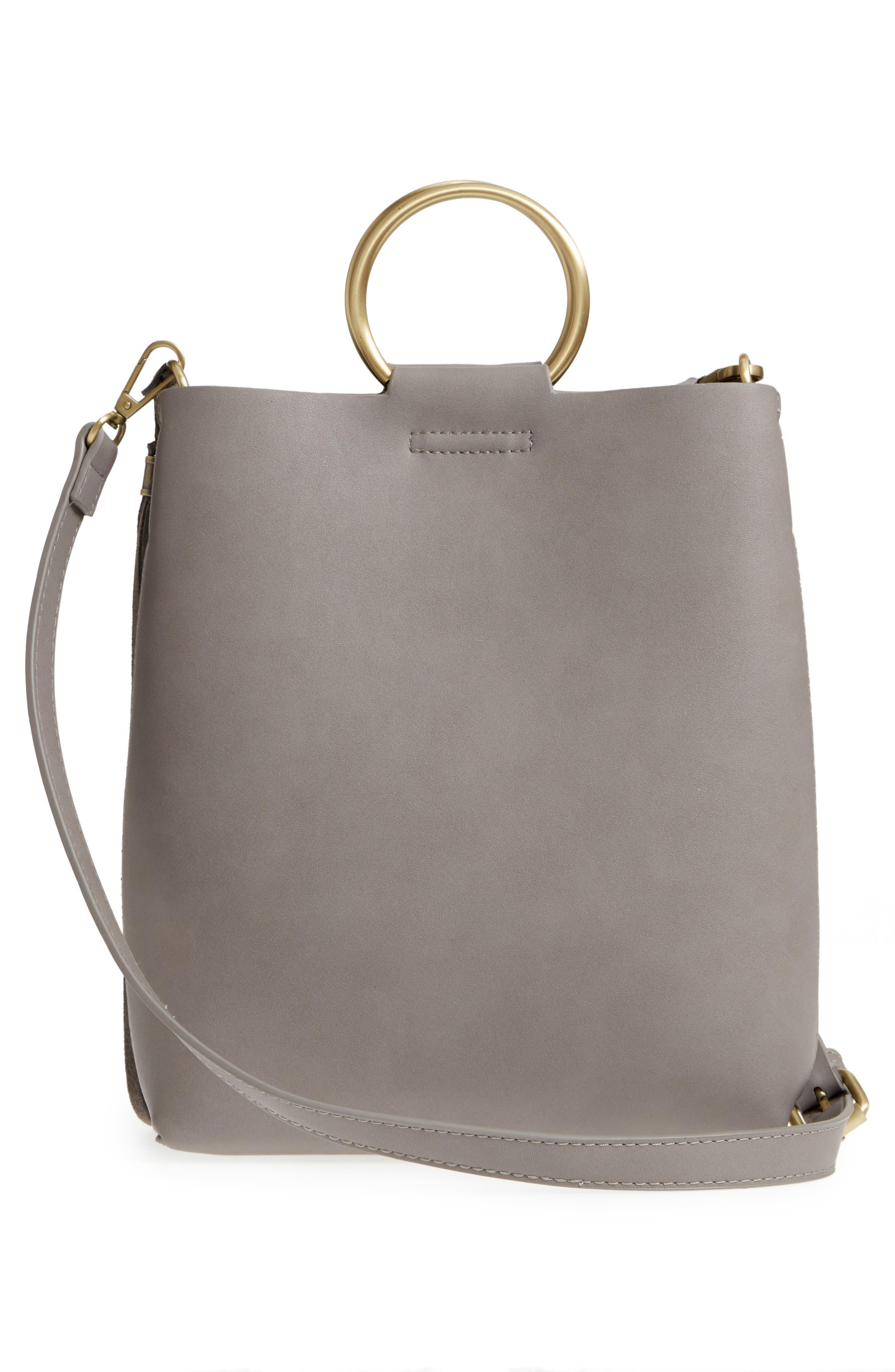 Metal Handle Faux Leather Crossbody Bag,                             Alternate thumbnail 3, color,                             020