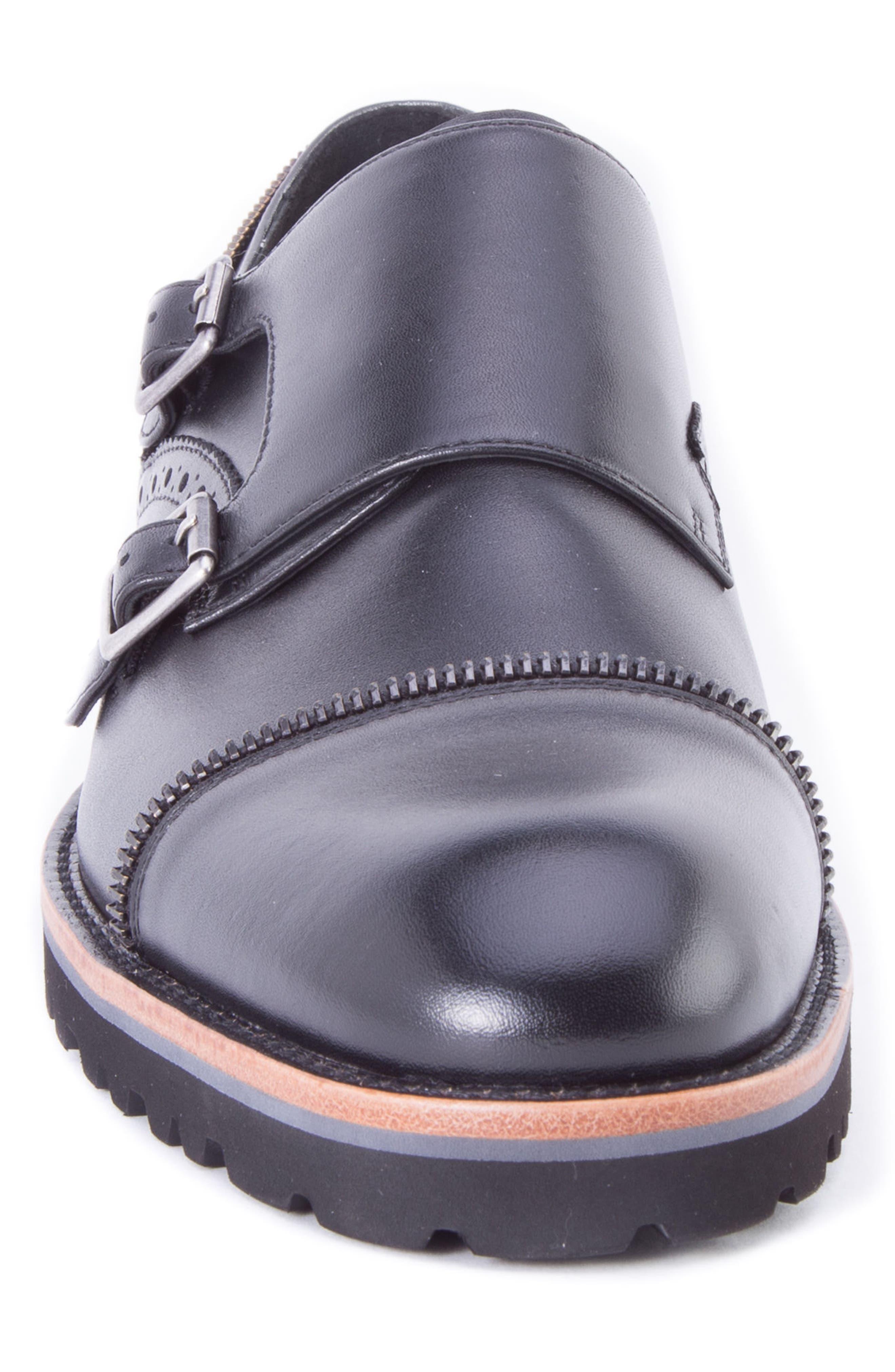 Acadia Double Buckle Monk Shoe,                             Alternate thumbnail 4, color,                             BLACK LEATHER