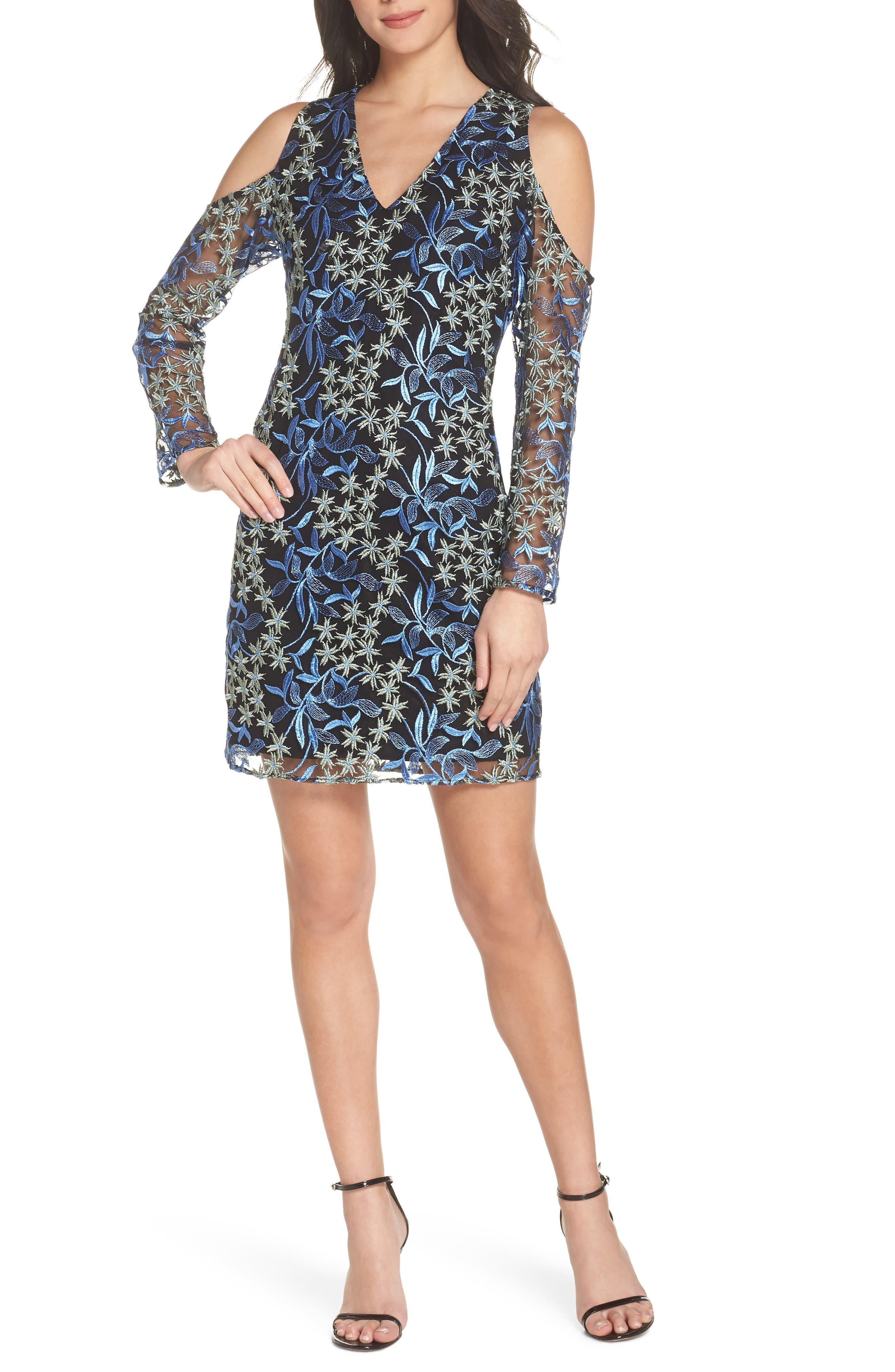 Floral Embroidered Cold Shoulder Dress,                         Main,                         color, BLUE/ GREEN
