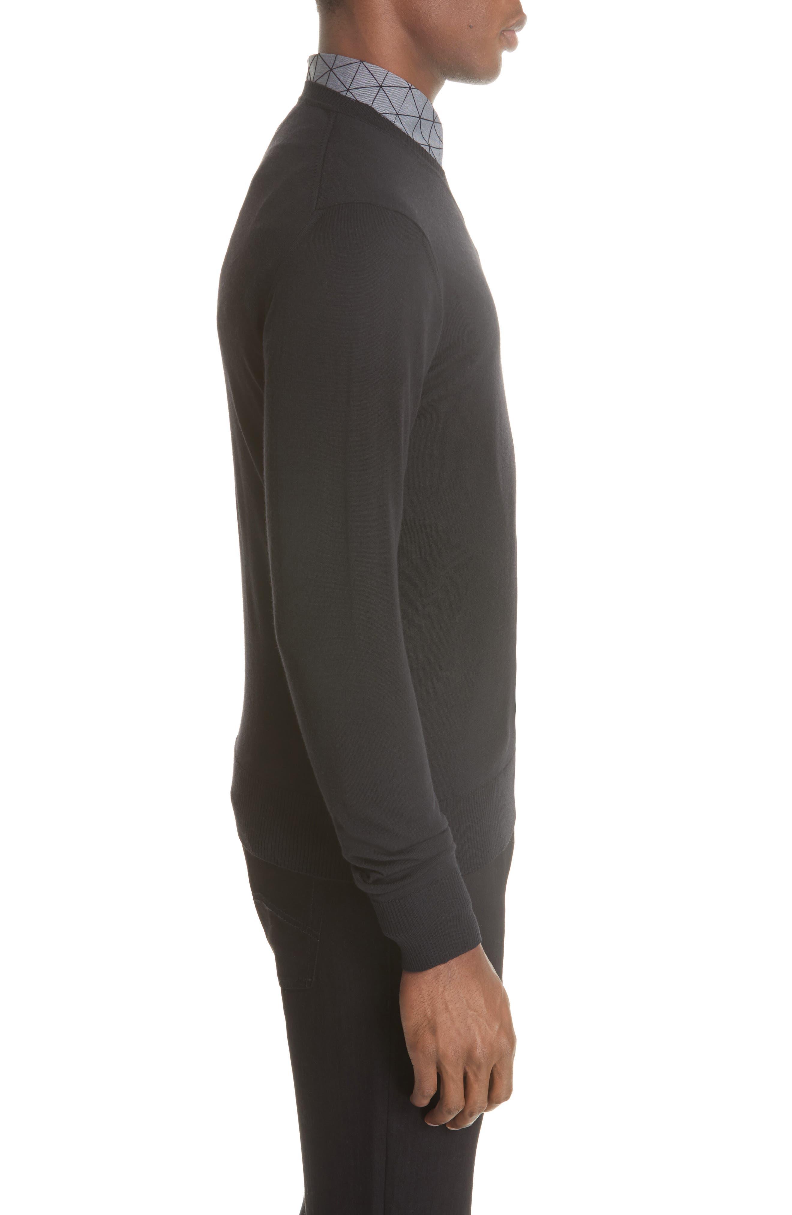 V-Neck Wool Sweater,                             Alternate thumbnail 3, color,                             BLACK