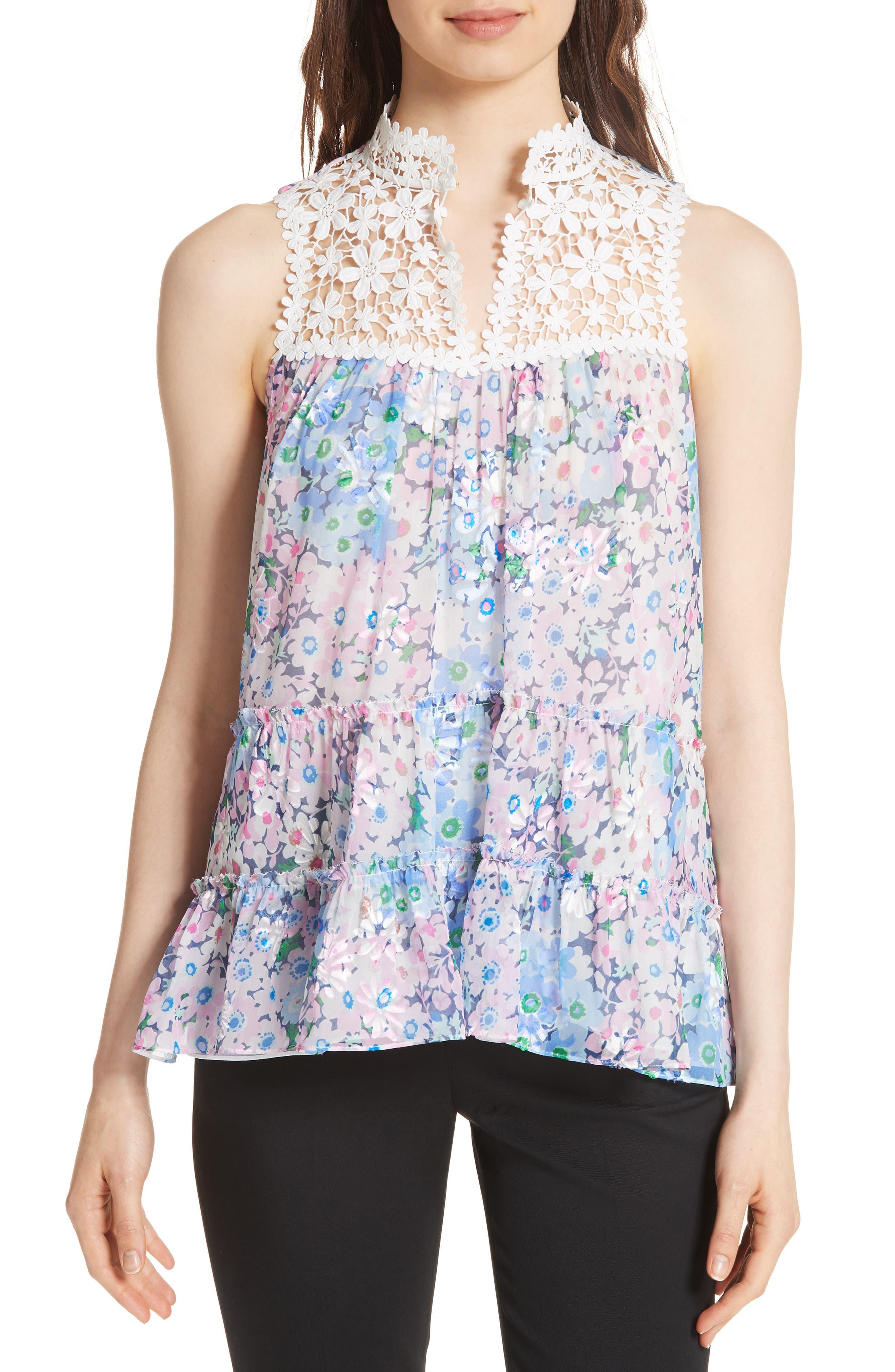 daisy garden devore silk blend top,                         Main,                         color, 474