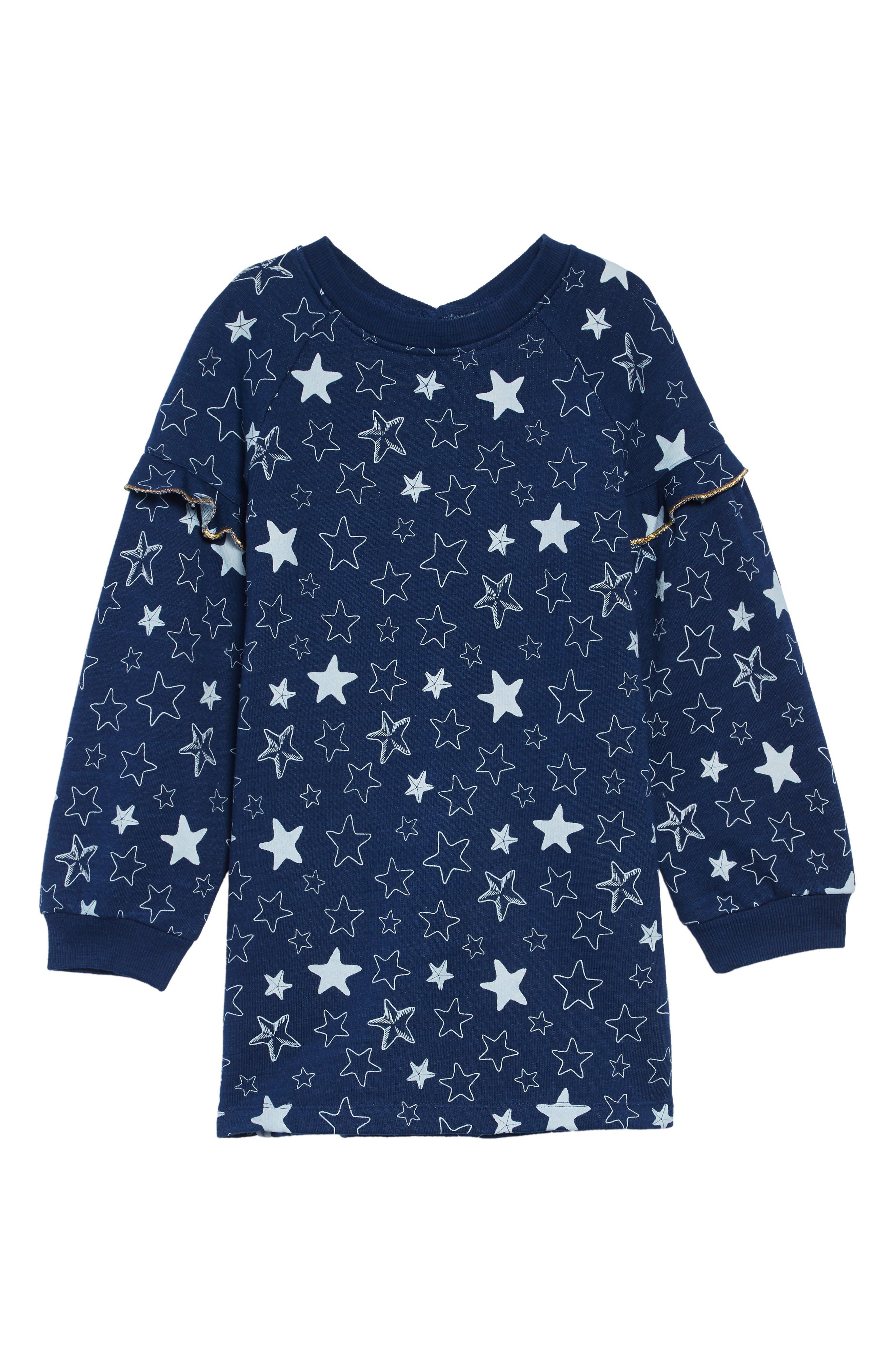 Starfish Sweatshirt Dress, Main, color, BLUE