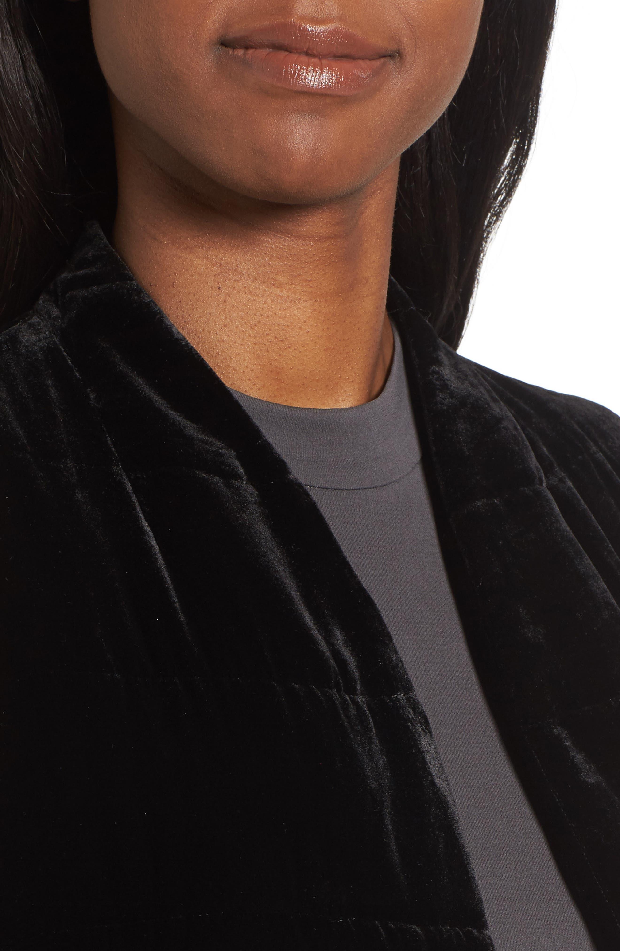 Long Quilted Velvet Vest,                             Alternate thumbnail 4, color,                             001