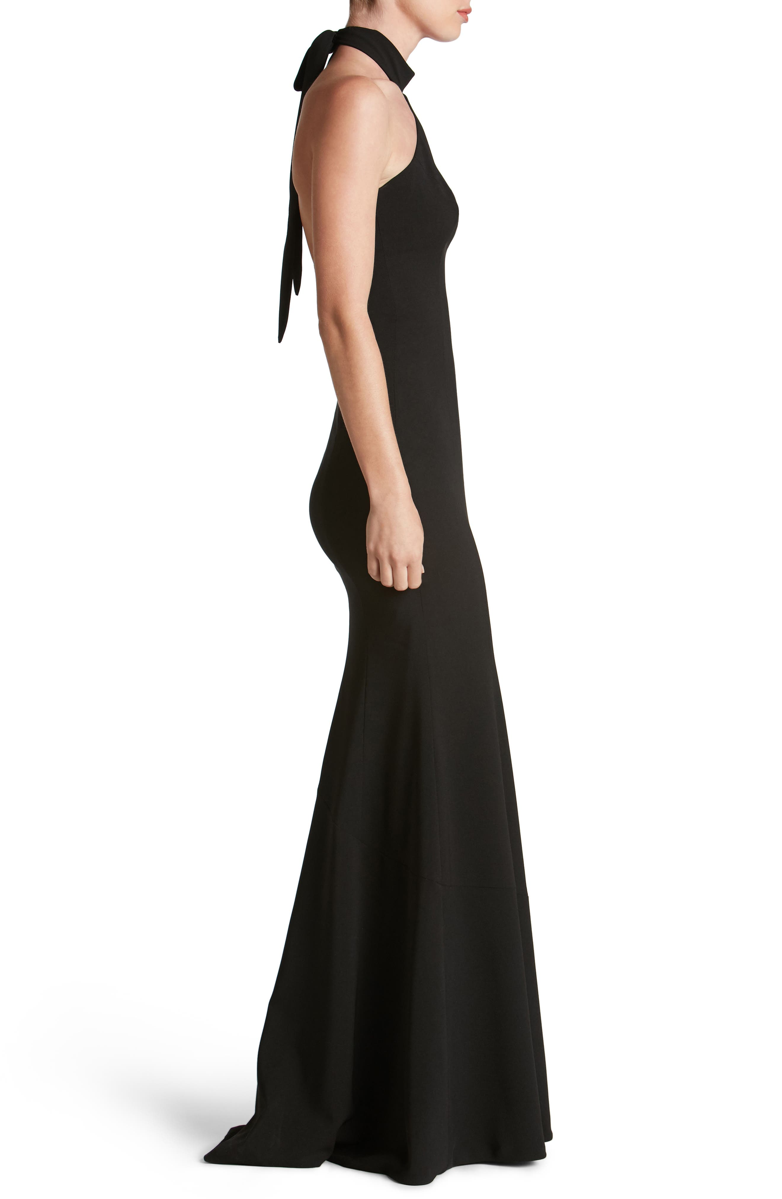 Taylor Crepe Halter Gown,                             Alternate thumbnail 3, color,                             001