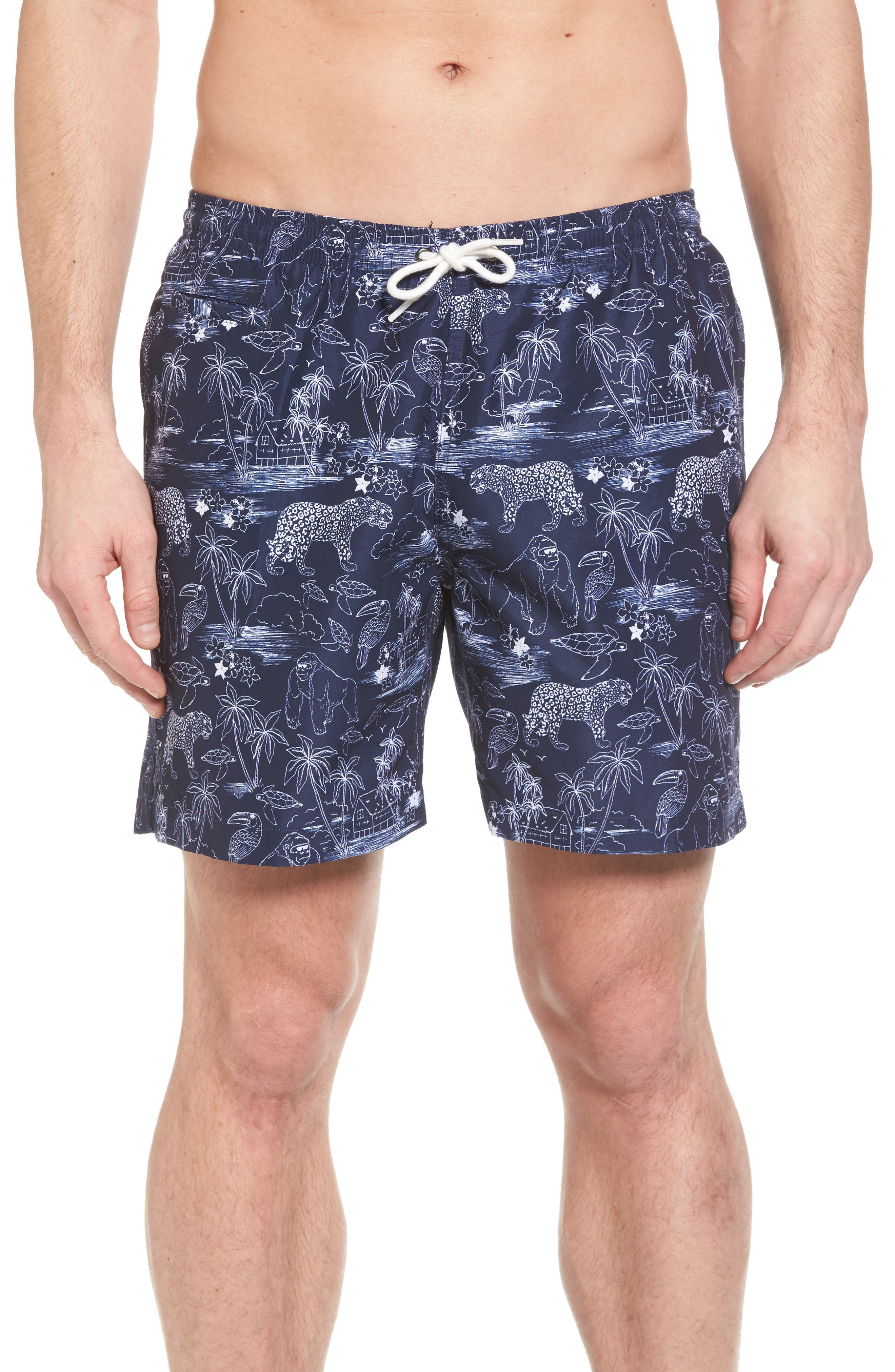 Trunks Surf & Co. San O Jungle Safari Swim Trunks,                             Main thumbnail 1, color,                             100