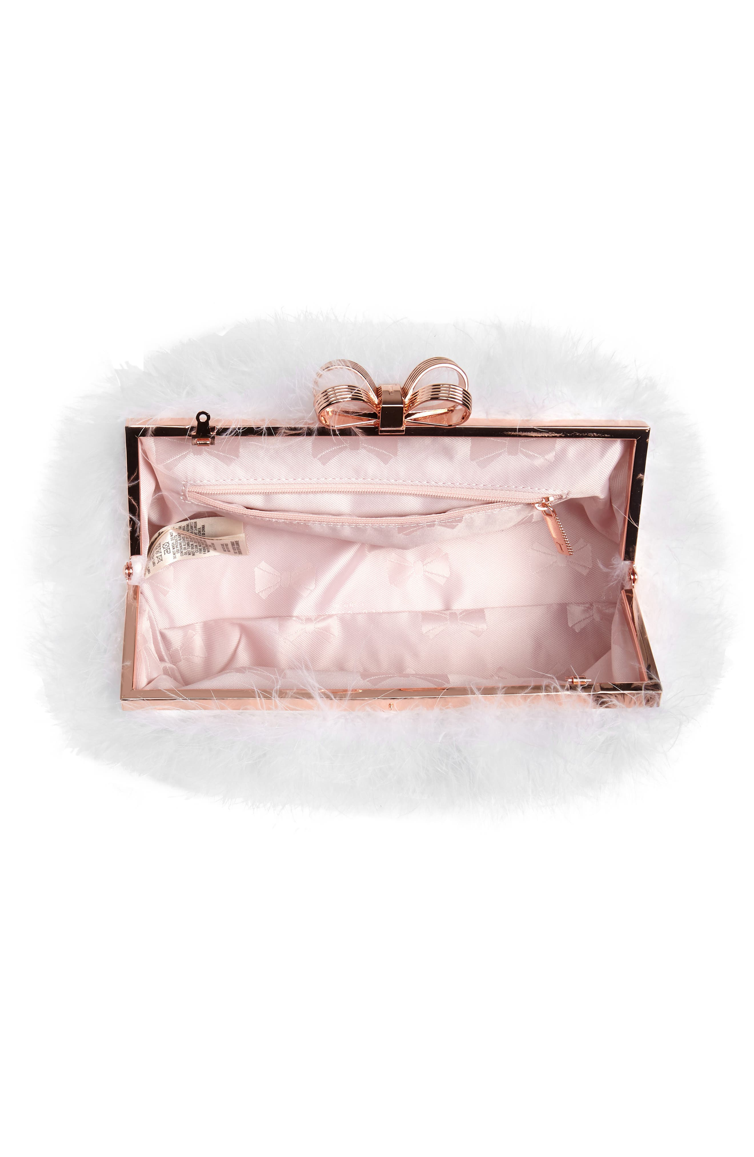 Loop Bow Feather Evening Bag,                             Alternate thumbnail 4, color,                             115