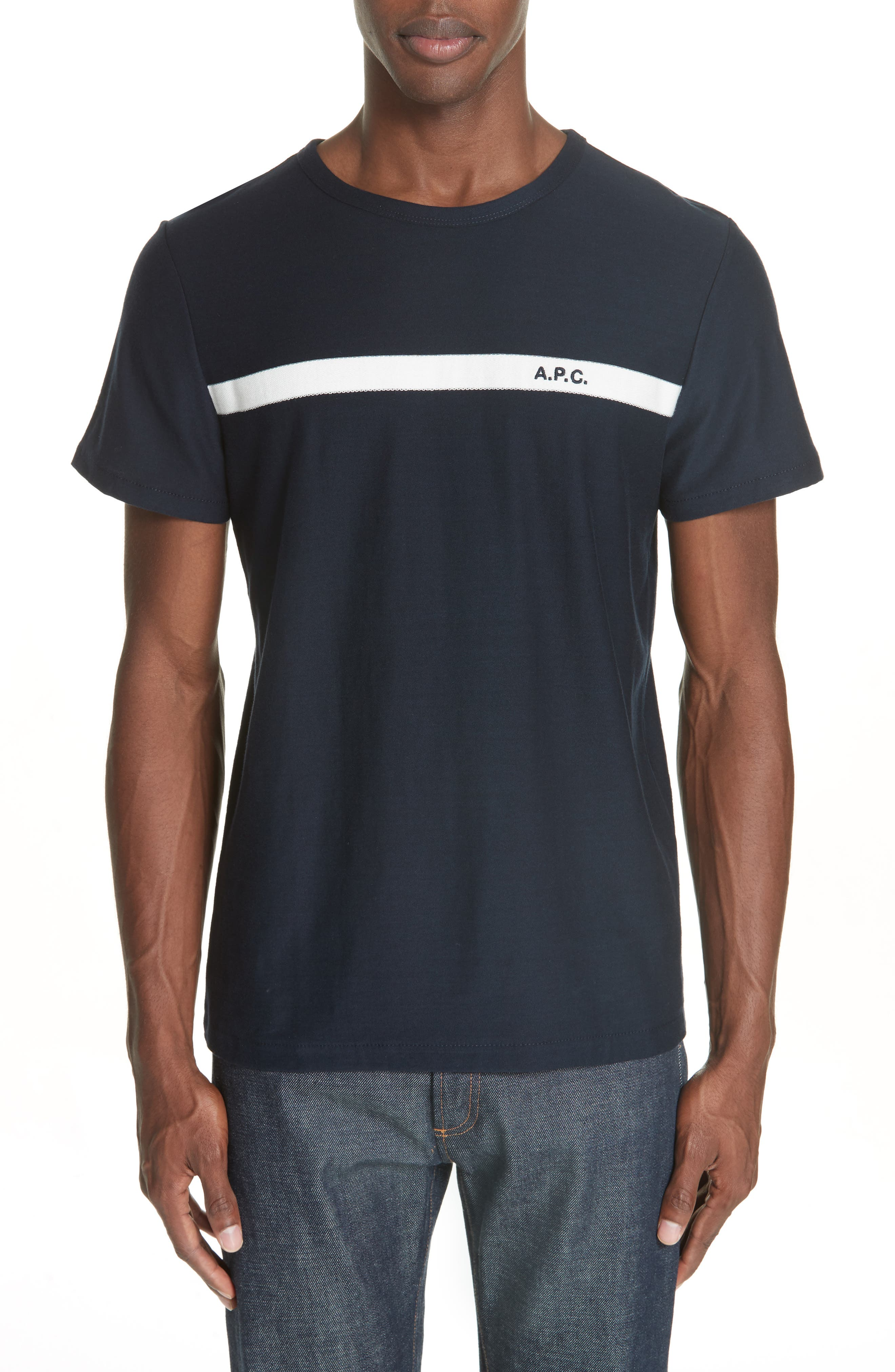 Stripe Logo T-Shirt,                             Main thumbnail 1, color,                             IAK NAVY
