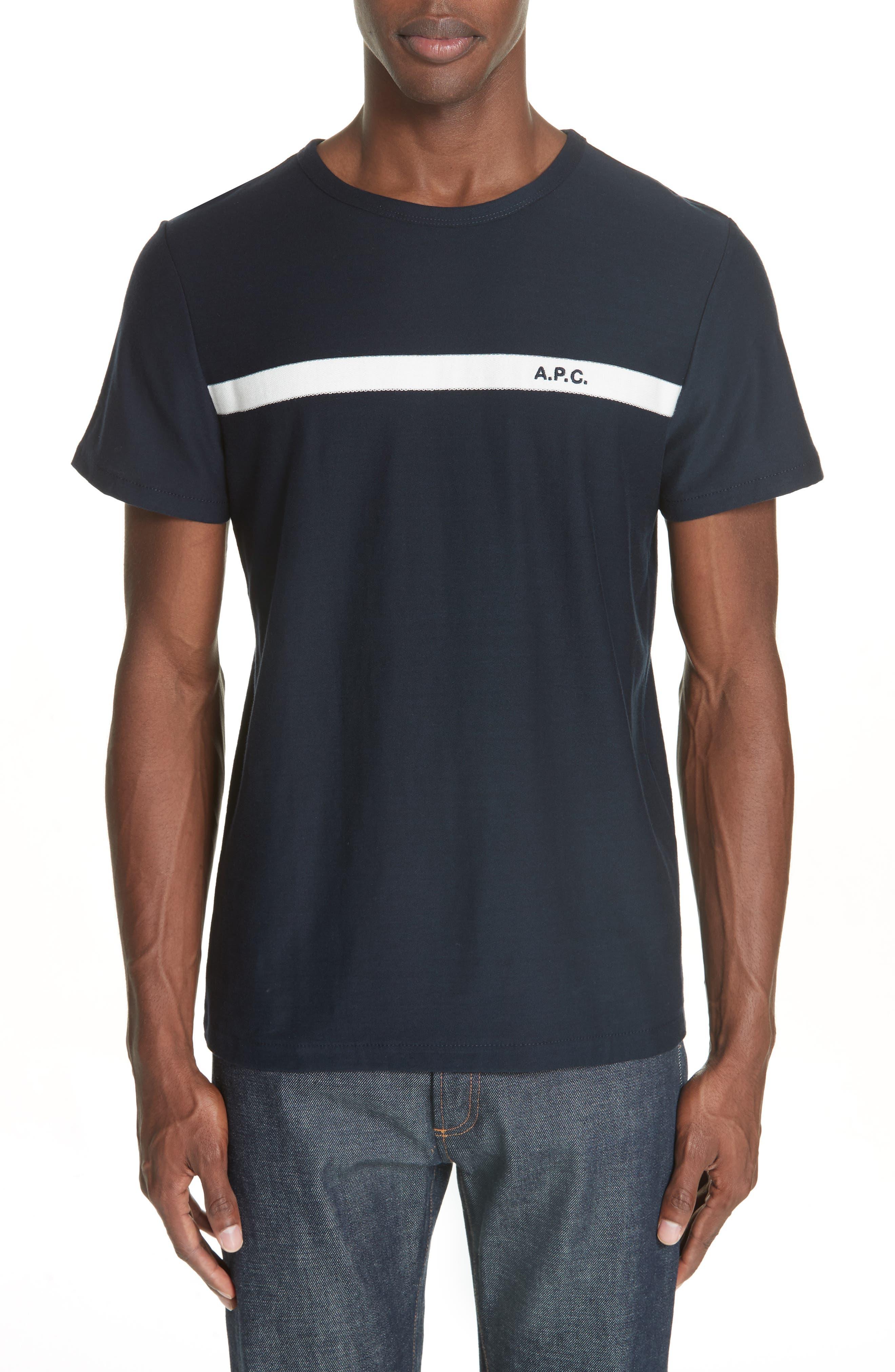 Stripe Logo T-Shirt,                         Main,                         color, IAK NAVY