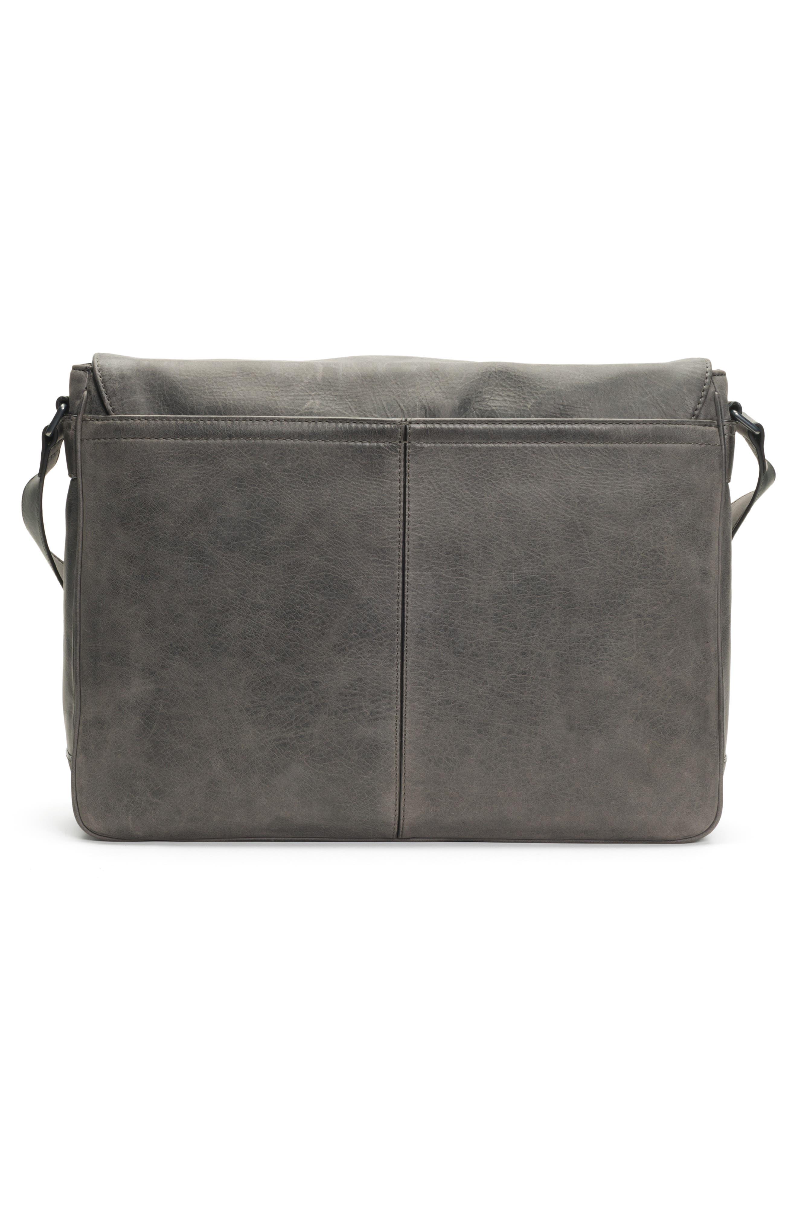 Oliver Leather Messenger Bag,                             Alternate thumbnail 3, color,                             SLATE