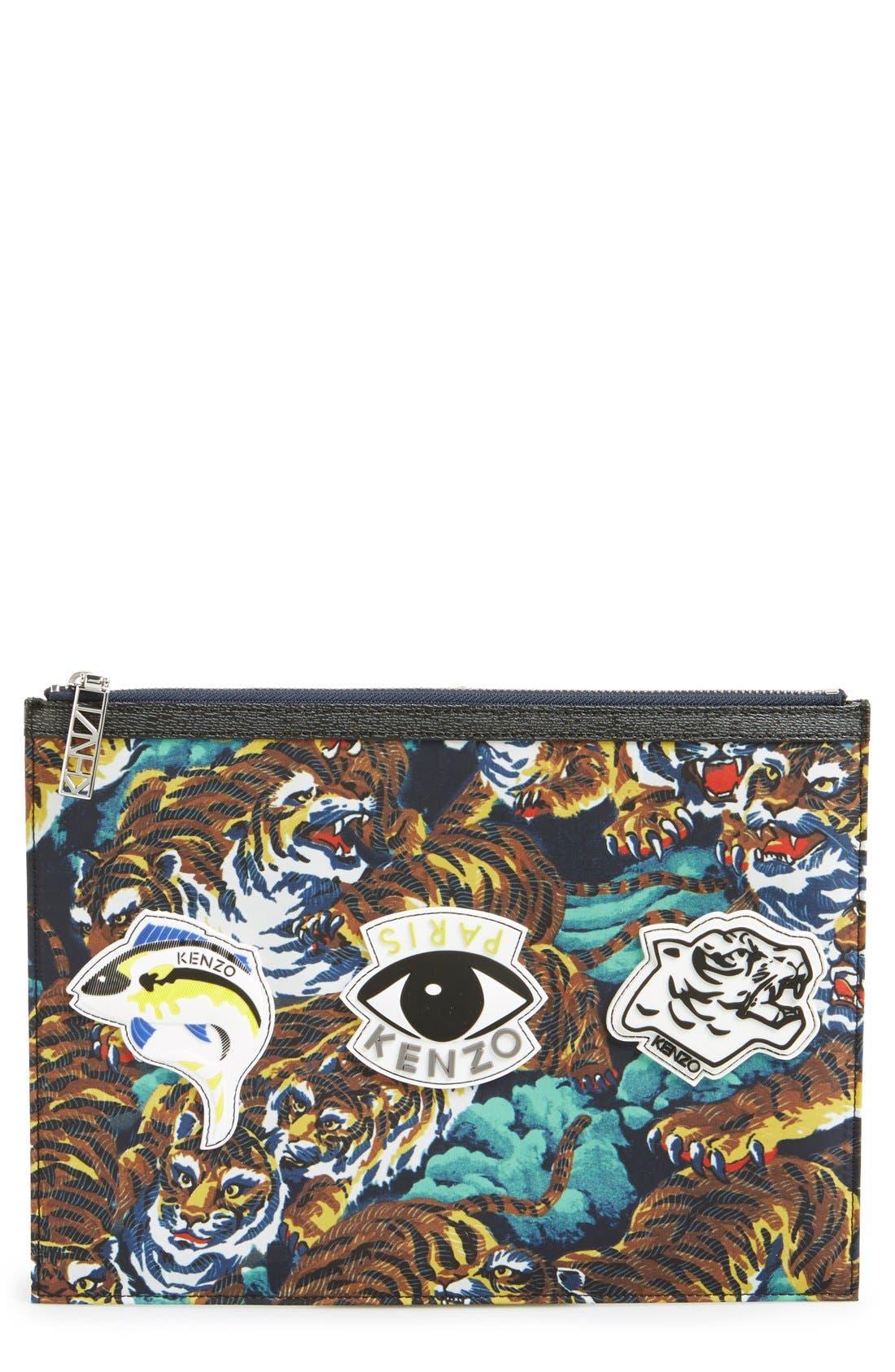 KENZO,                             Print Pouch,                             Main thumbnail 1, color,                             000