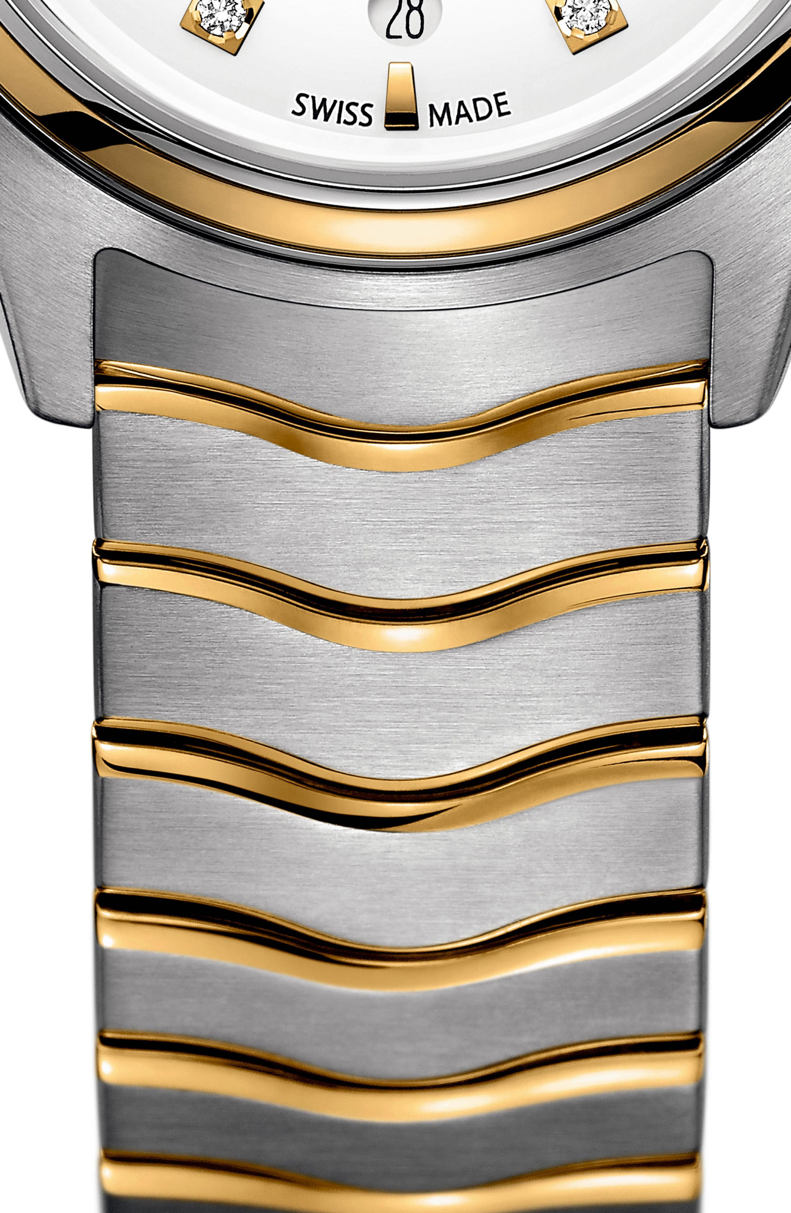 Moonphase Wave Bracelet Watch, 30mm,                             Alternate thumbnail 3, color,                             SILVER/ WHITE/ GOLD