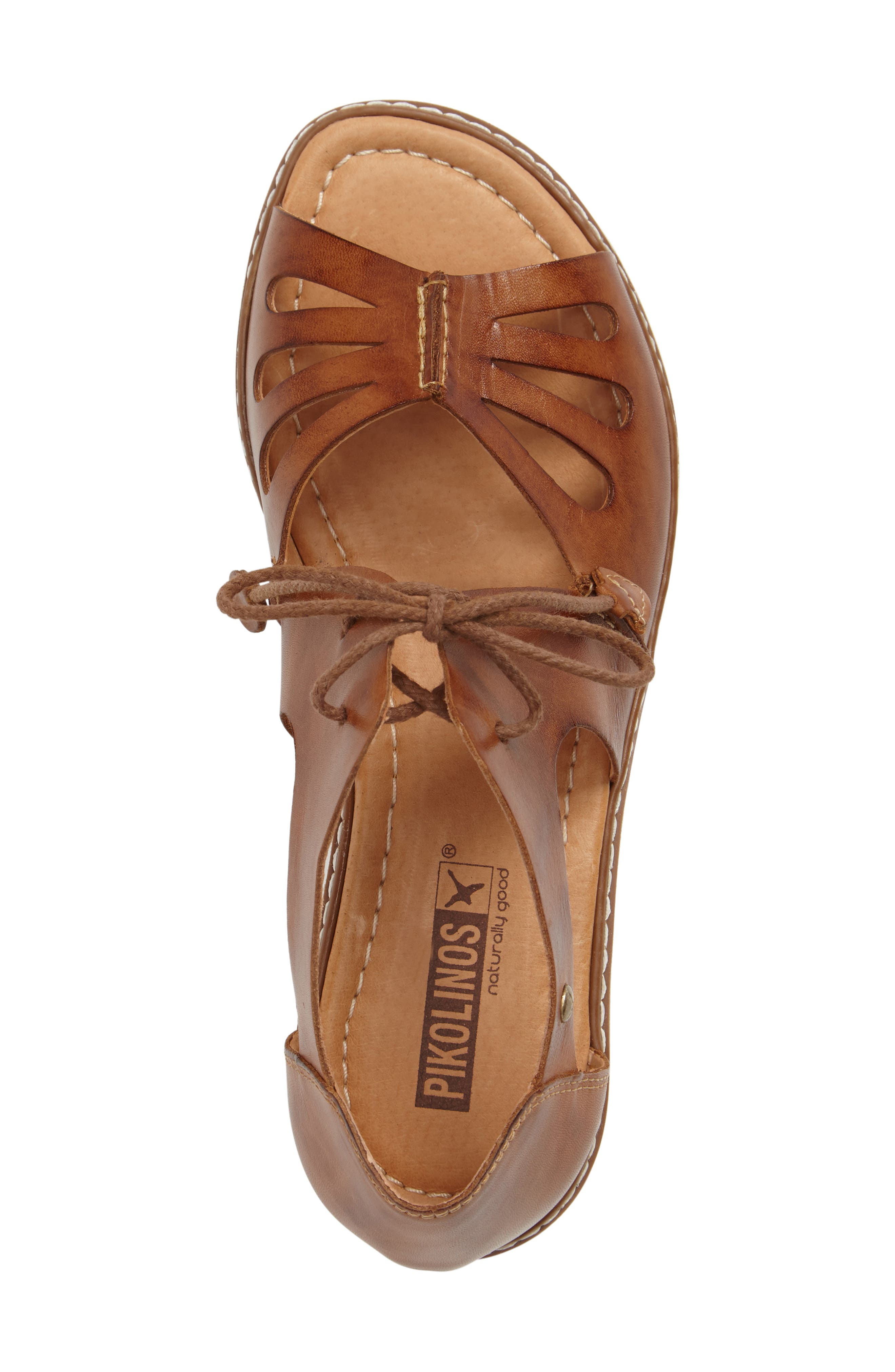 PIKOLINOS,                             Alcudia Lace-Up Sandal,                             Alternate thumbnail 5, color,                             BRANDY LEATHER