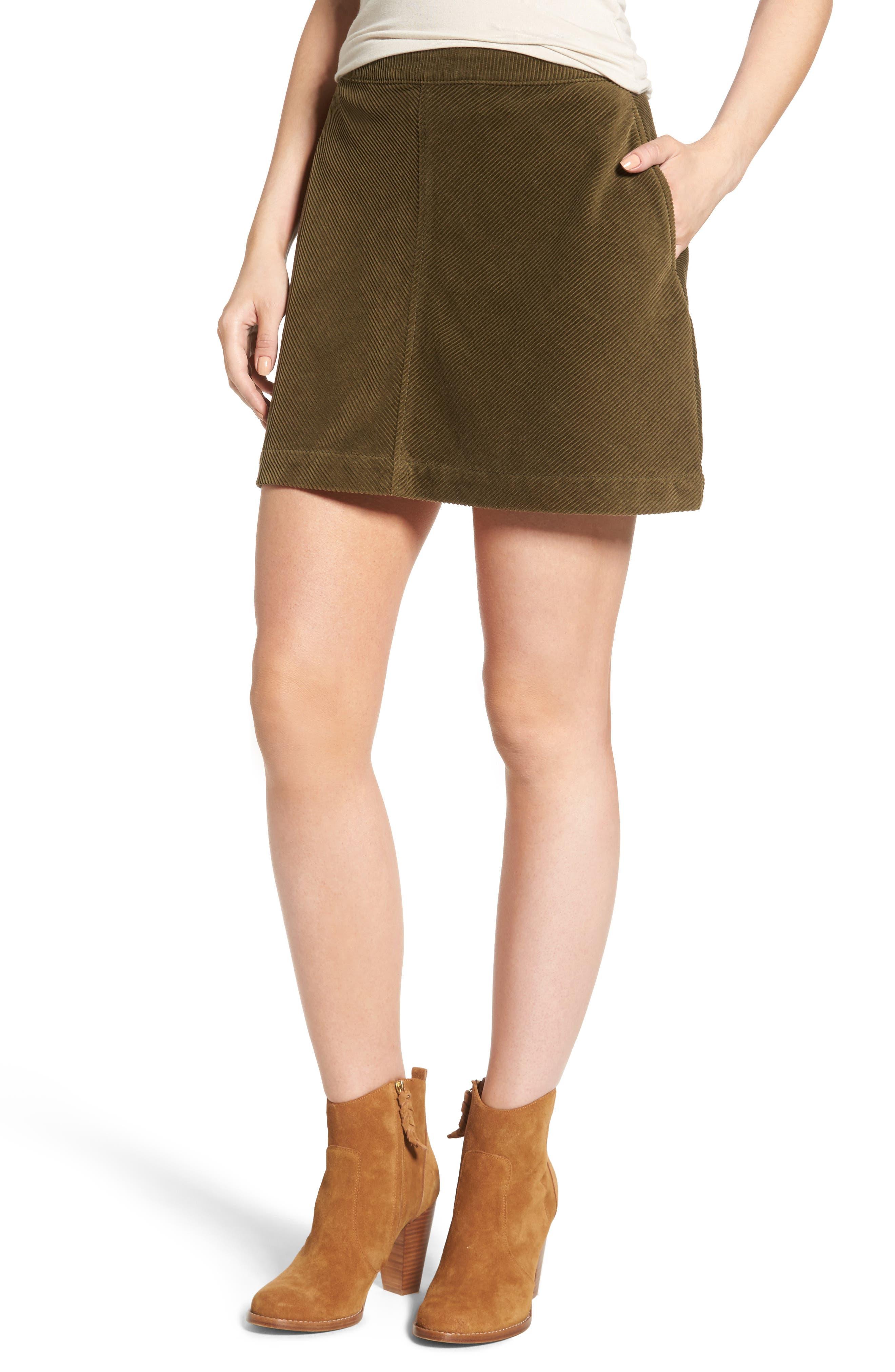 Corduroy A-Line Miniskirt,                             Main thumbnail 1, color,                             311