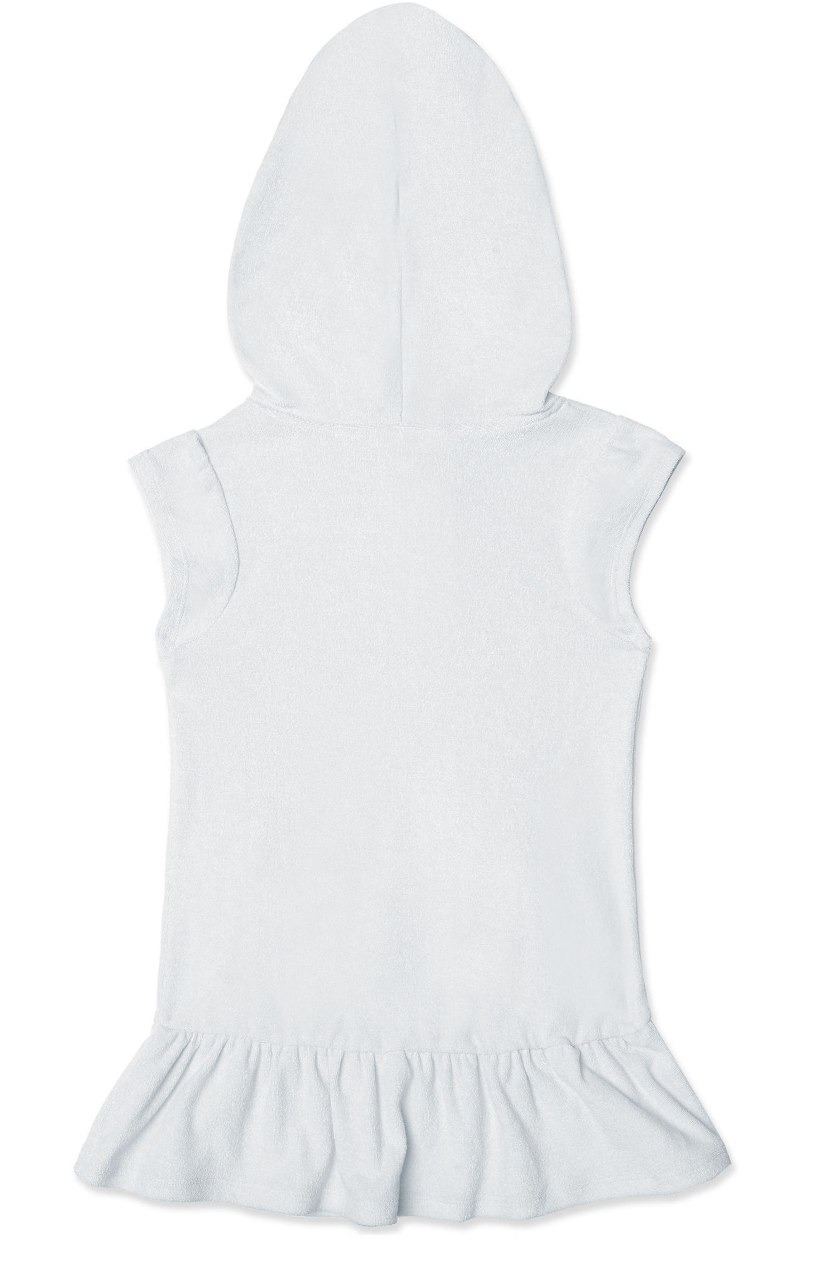 HULA STAR,                             Cotton Cloud Hooded Cover-Up Dress,                             Alternate thumbnail 3, color,                             WHITE