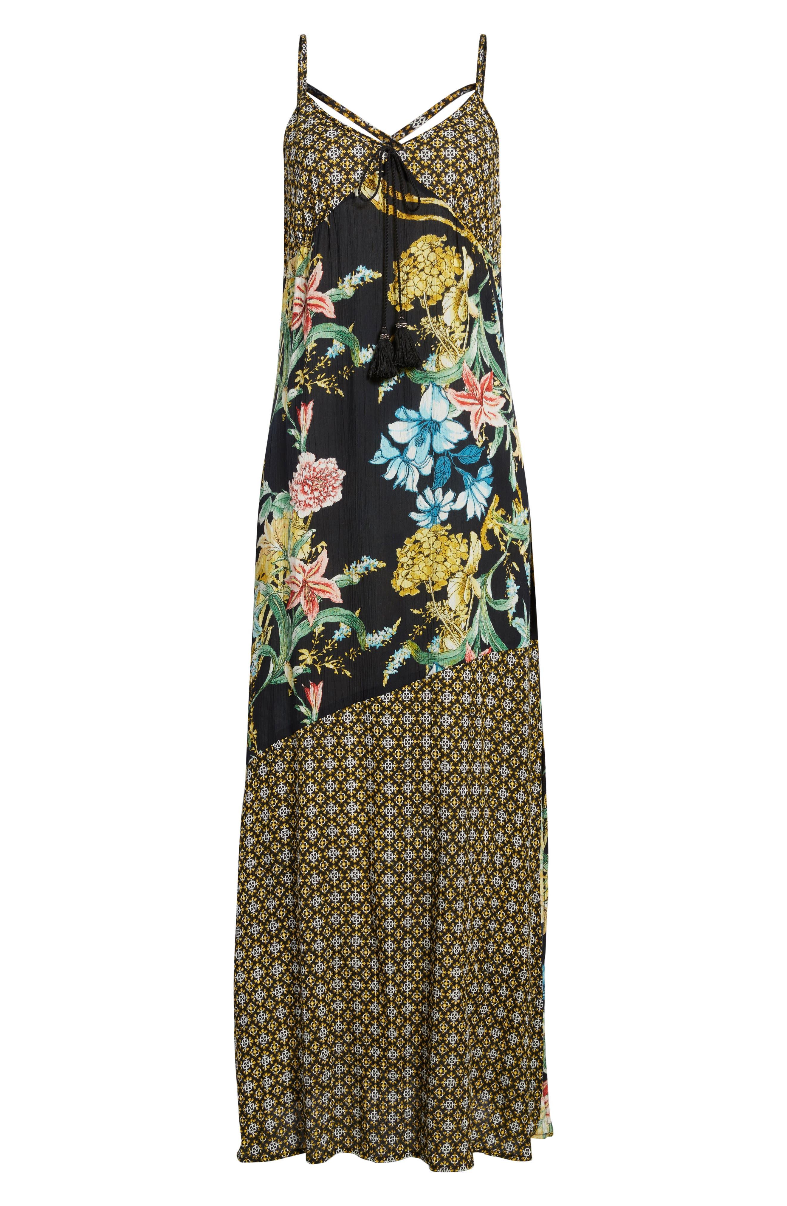 Tropical Mixed Print Maxi Dress,                             Alternate thumbnail 6, color,                             001
