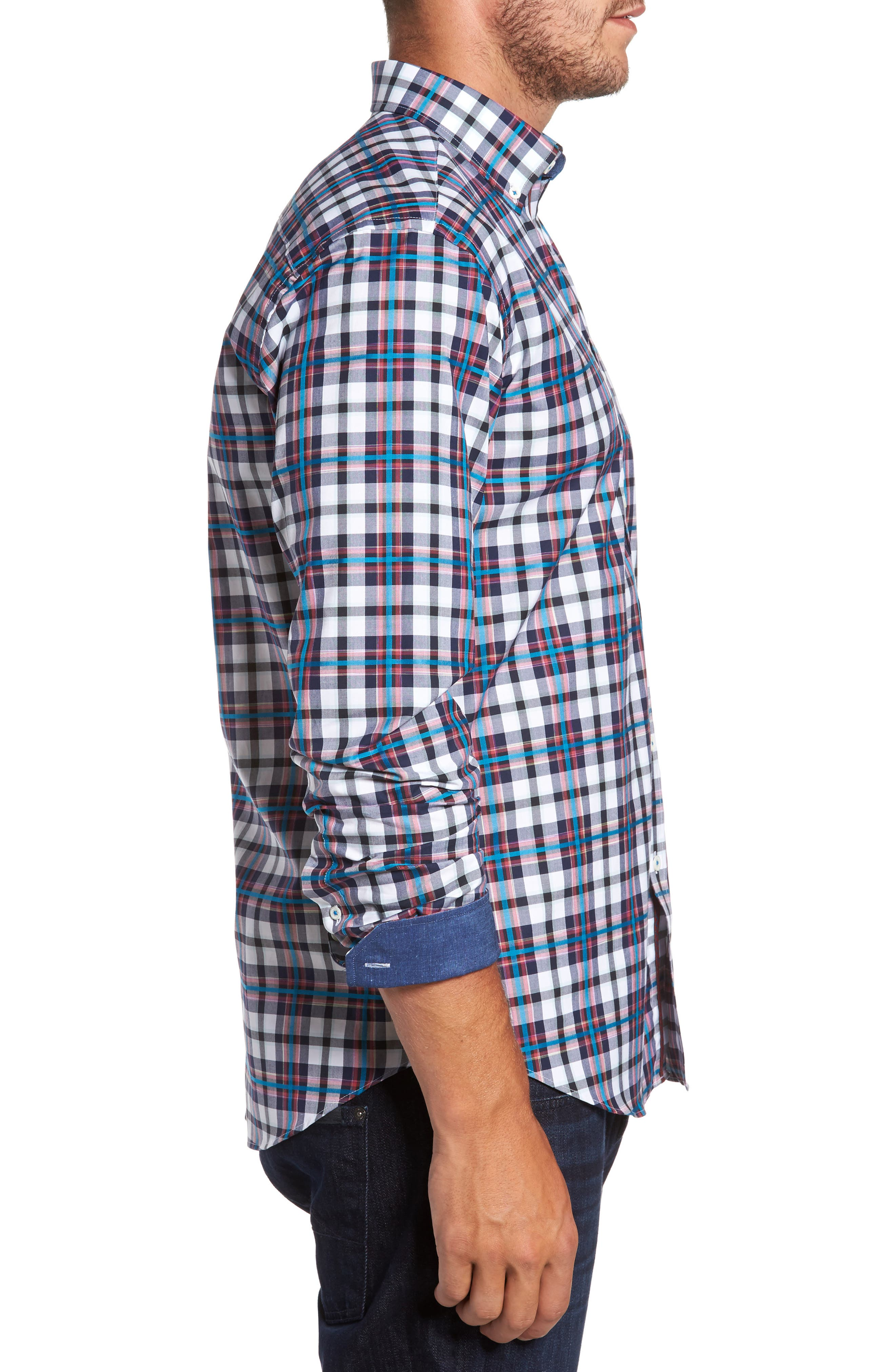 Shaped Fit Plaid Sport Shirt,                             Alternate thumbnail 3, color,                             411