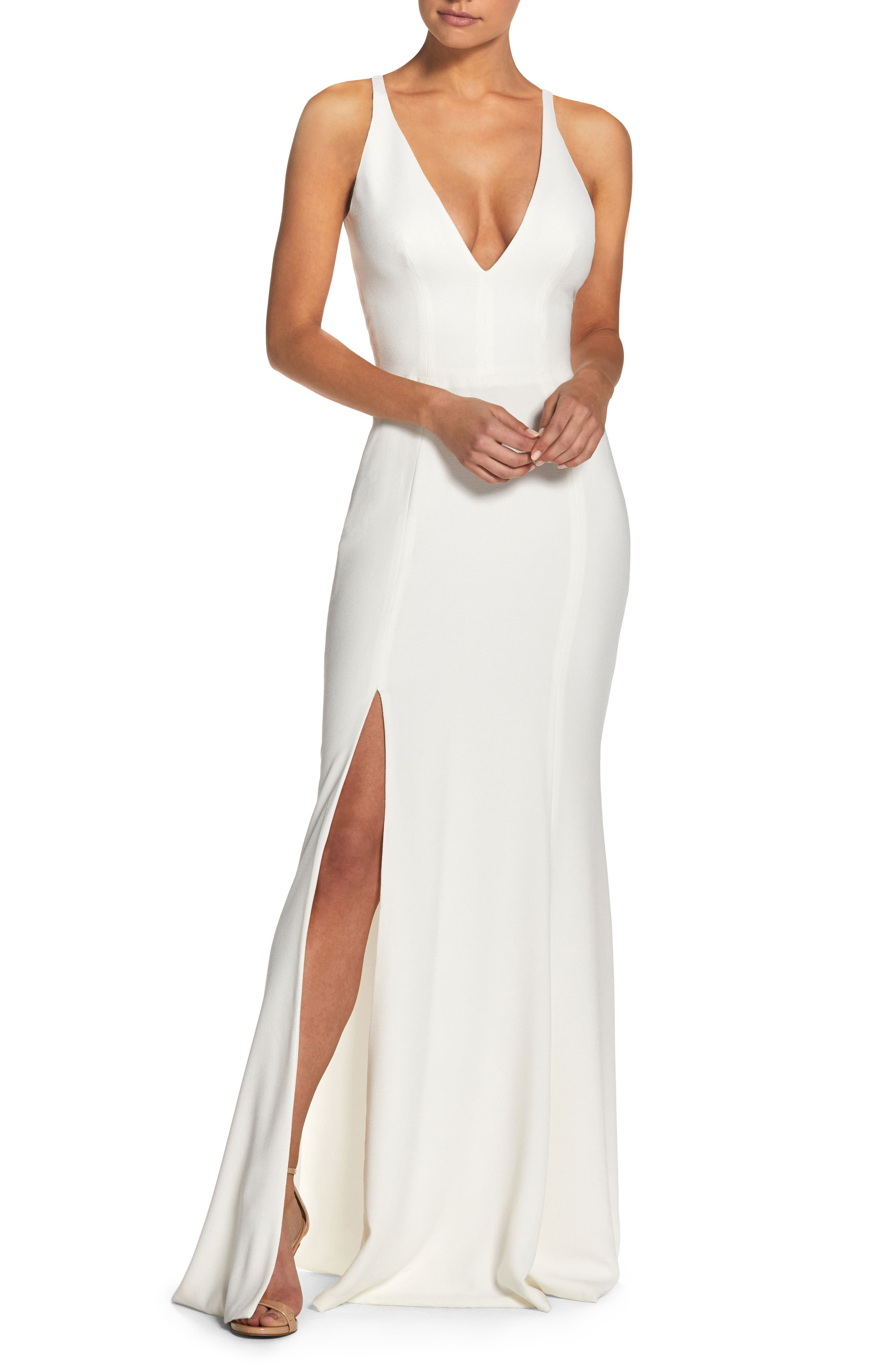Dress The Population Iris Slit Crepe Gown, White